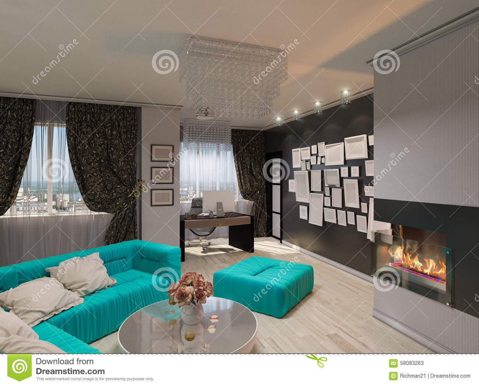 Modern Art Deco Style Drawing Room Interior Stock