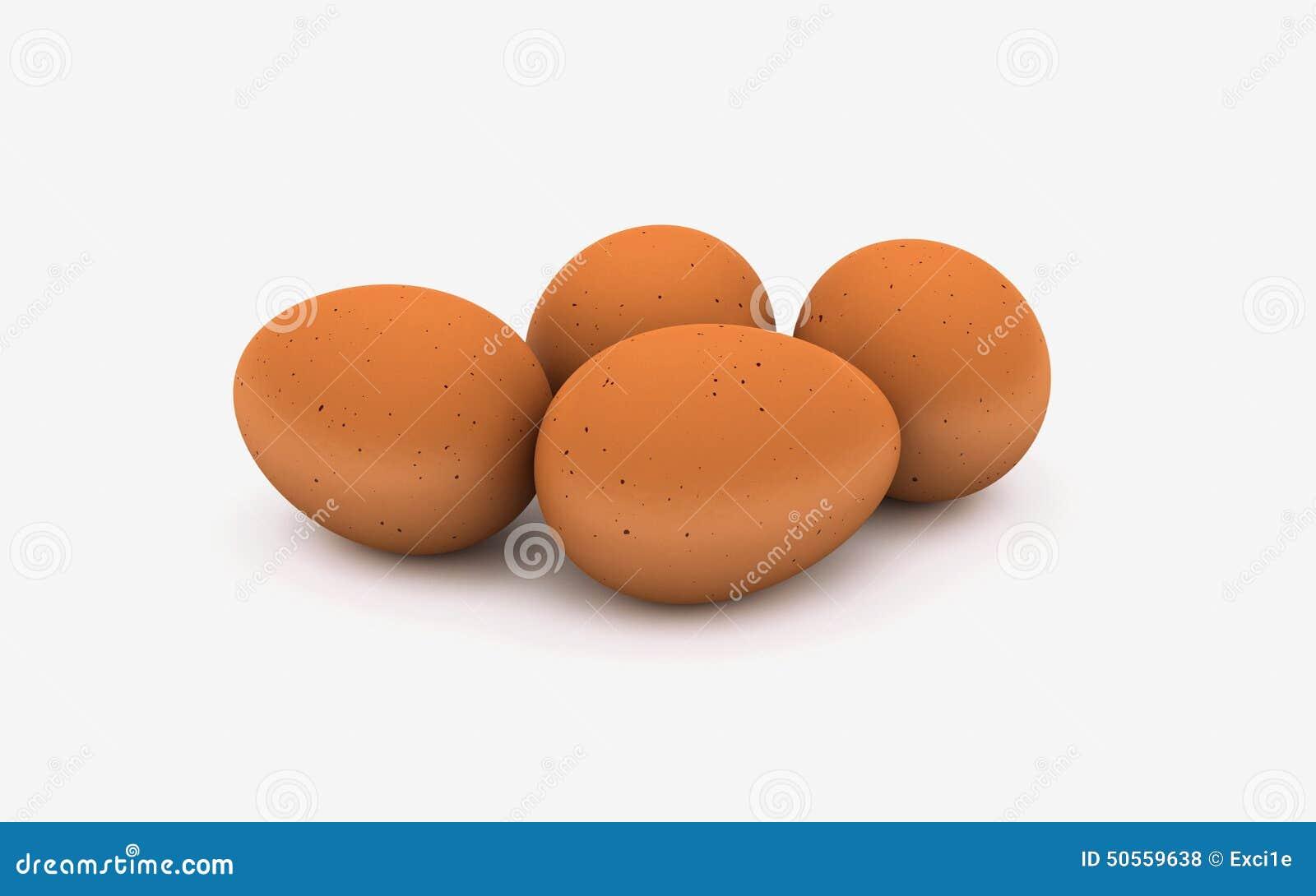 3d illustration of 4 eggs on a white background stock illustration