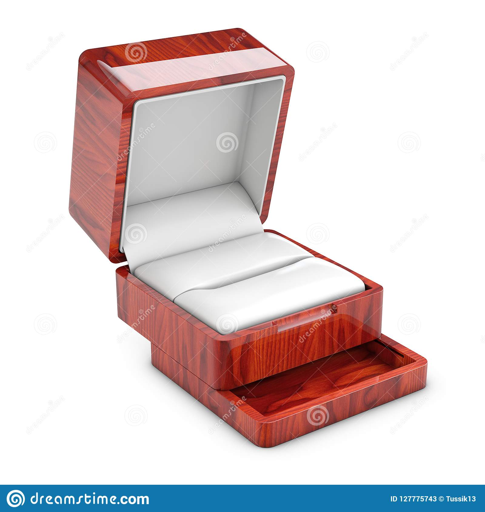 3d Illustration Of Empty Red Wood Opened Gift Jewelry Box ...
