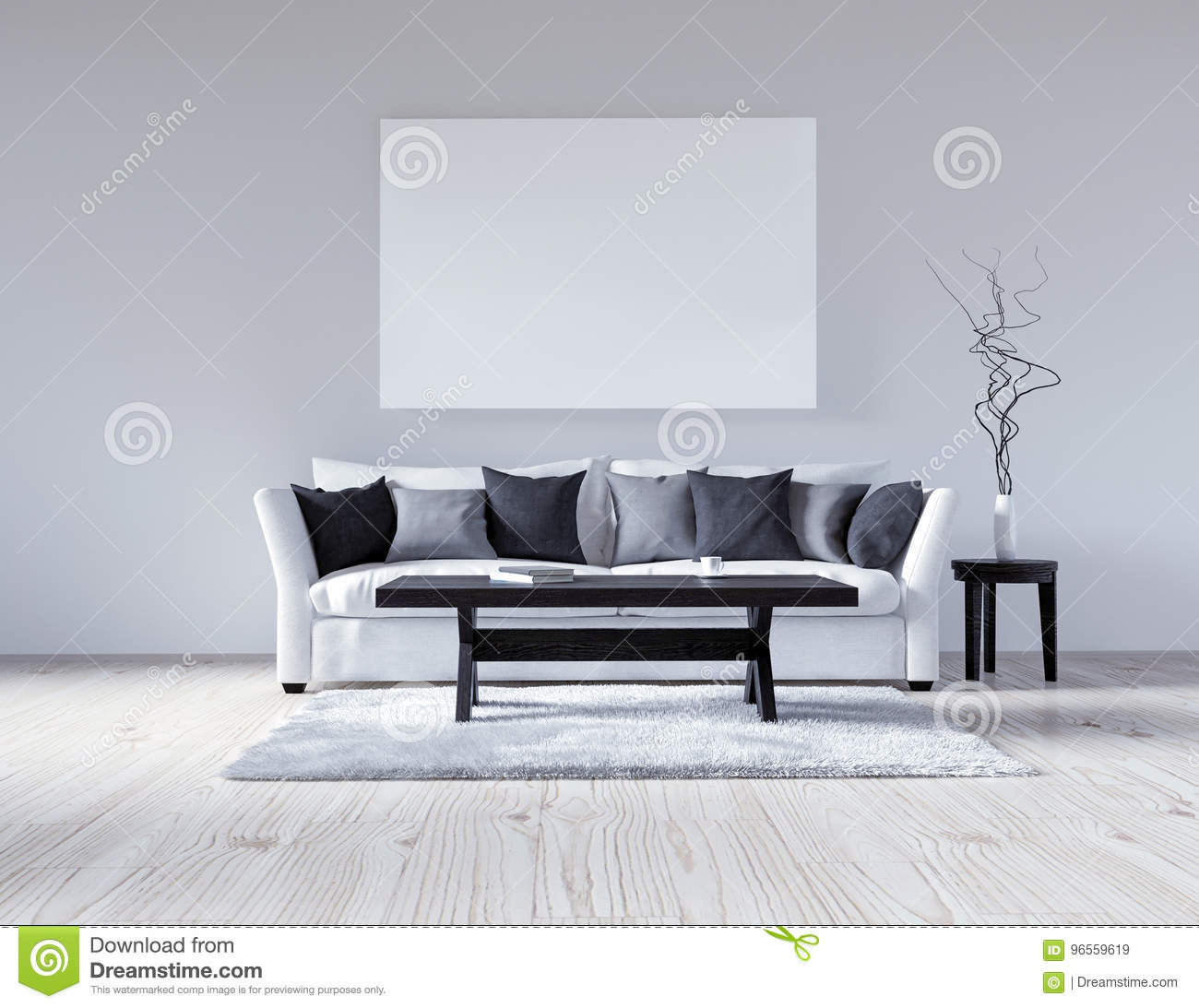 3d Illustration Empty White Interior With Sofa Empty Wall