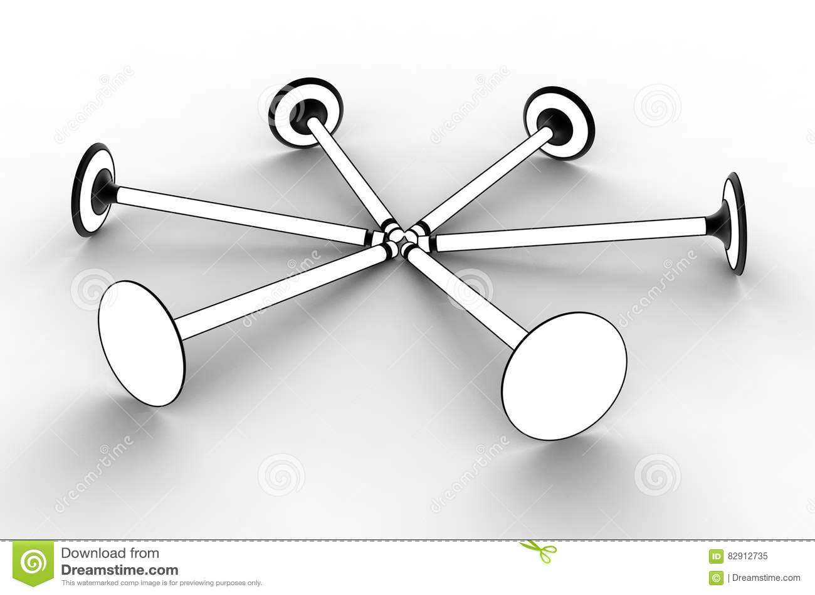3d Illustration Of Engine Valves Stock Diagram