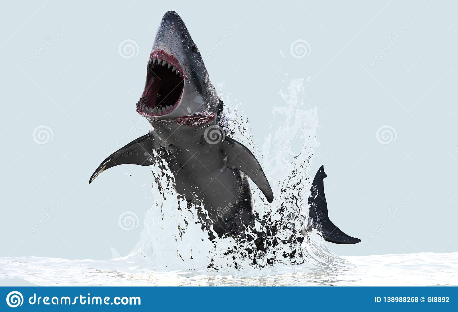Great White Shark Jumps Out Of The Water Stock Illustration