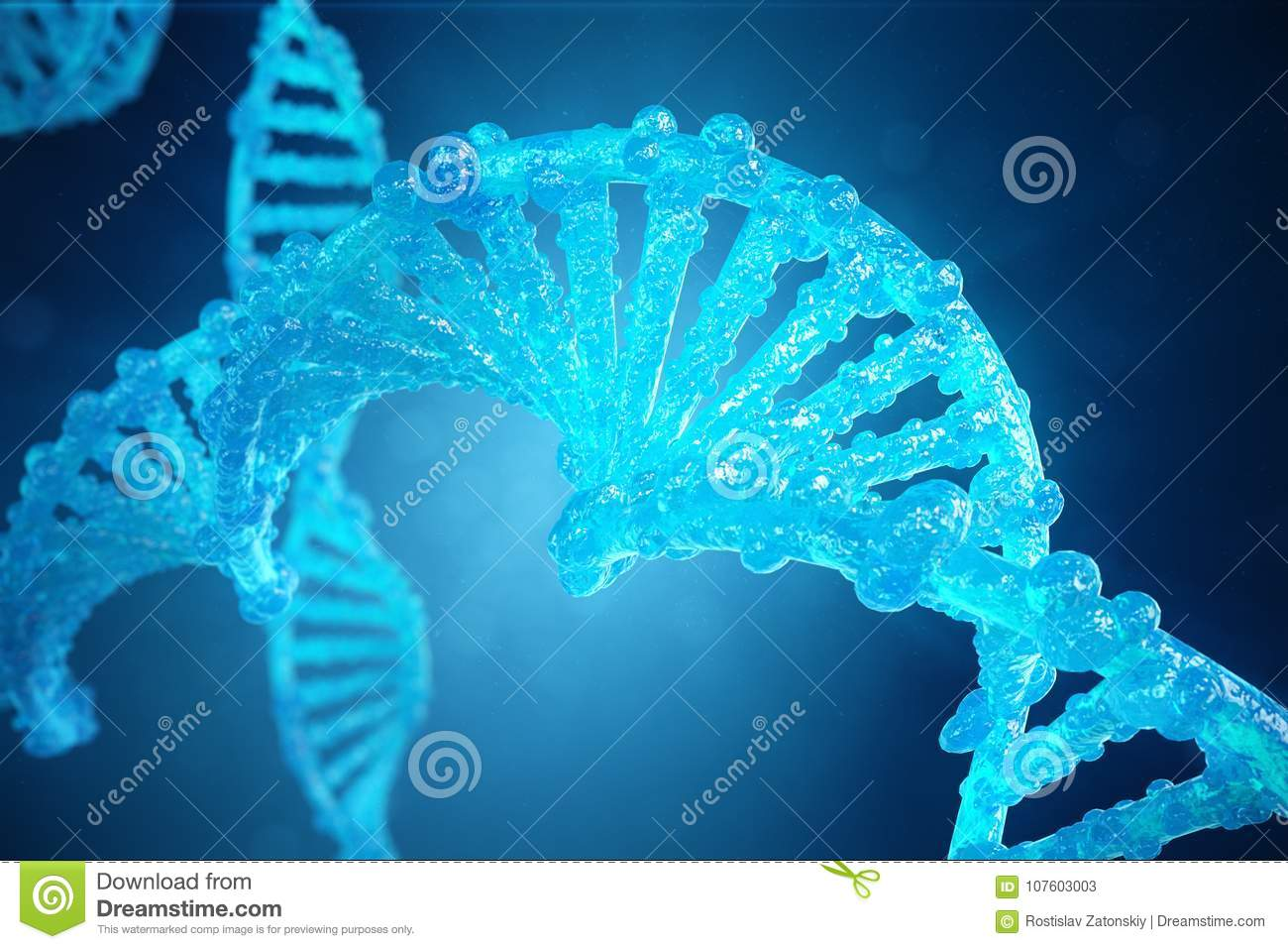 3D Illustration Helix DNA molecule with modified genes. Correcting mutation by genetic engineering. Concept Molecular