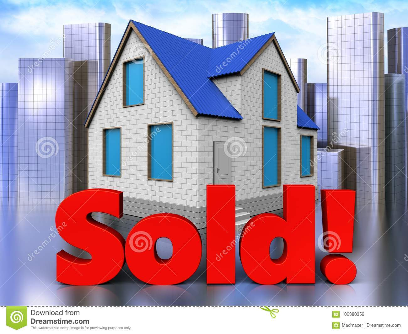 3d sold sign over city