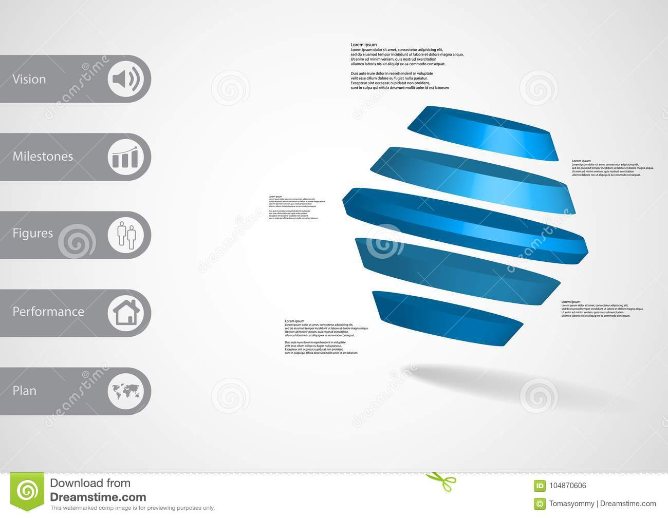 3d illustration infographic template with rotated hexagon divided to