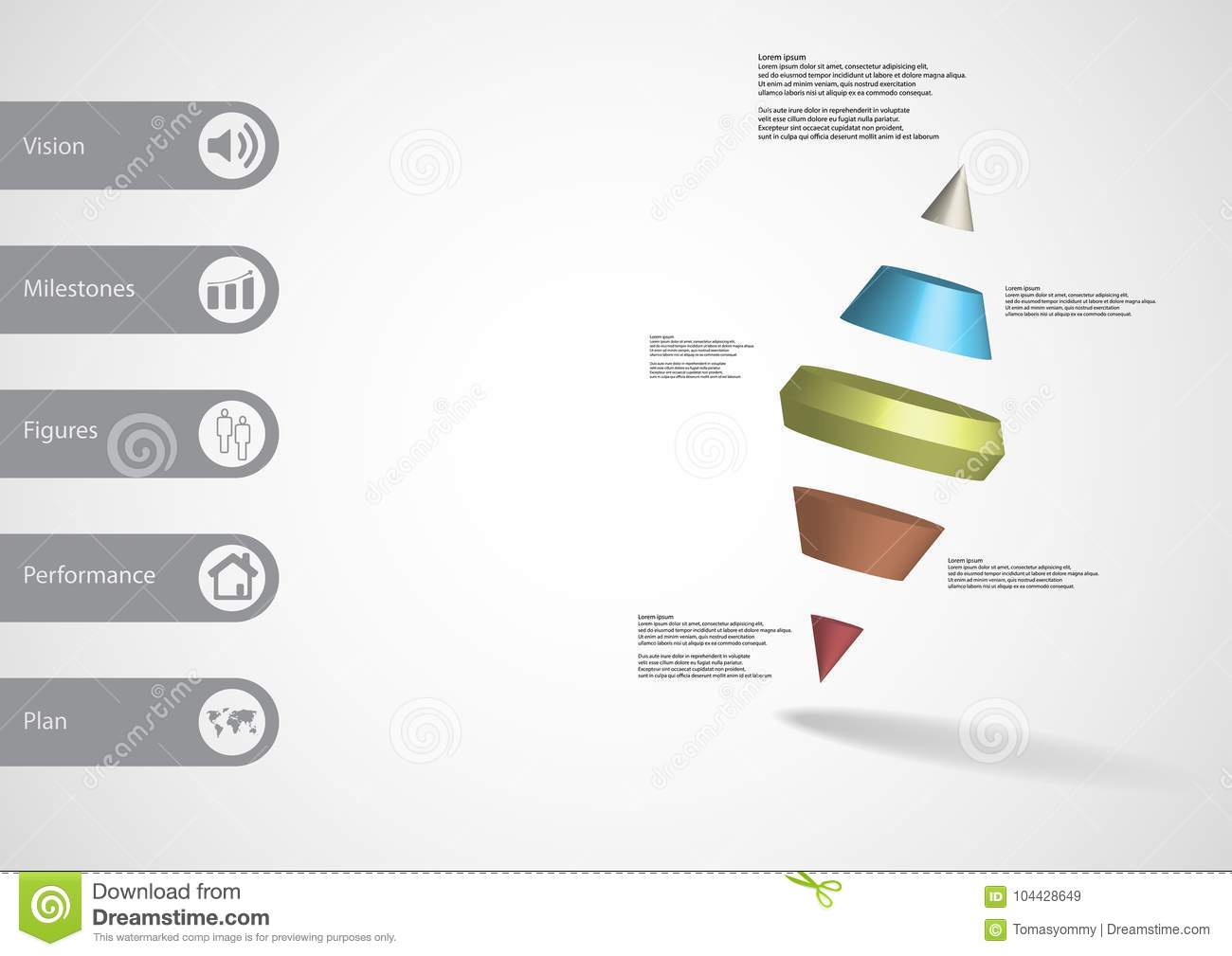 3D illustration infographic template with two spike cone divided to five parts askew arranged