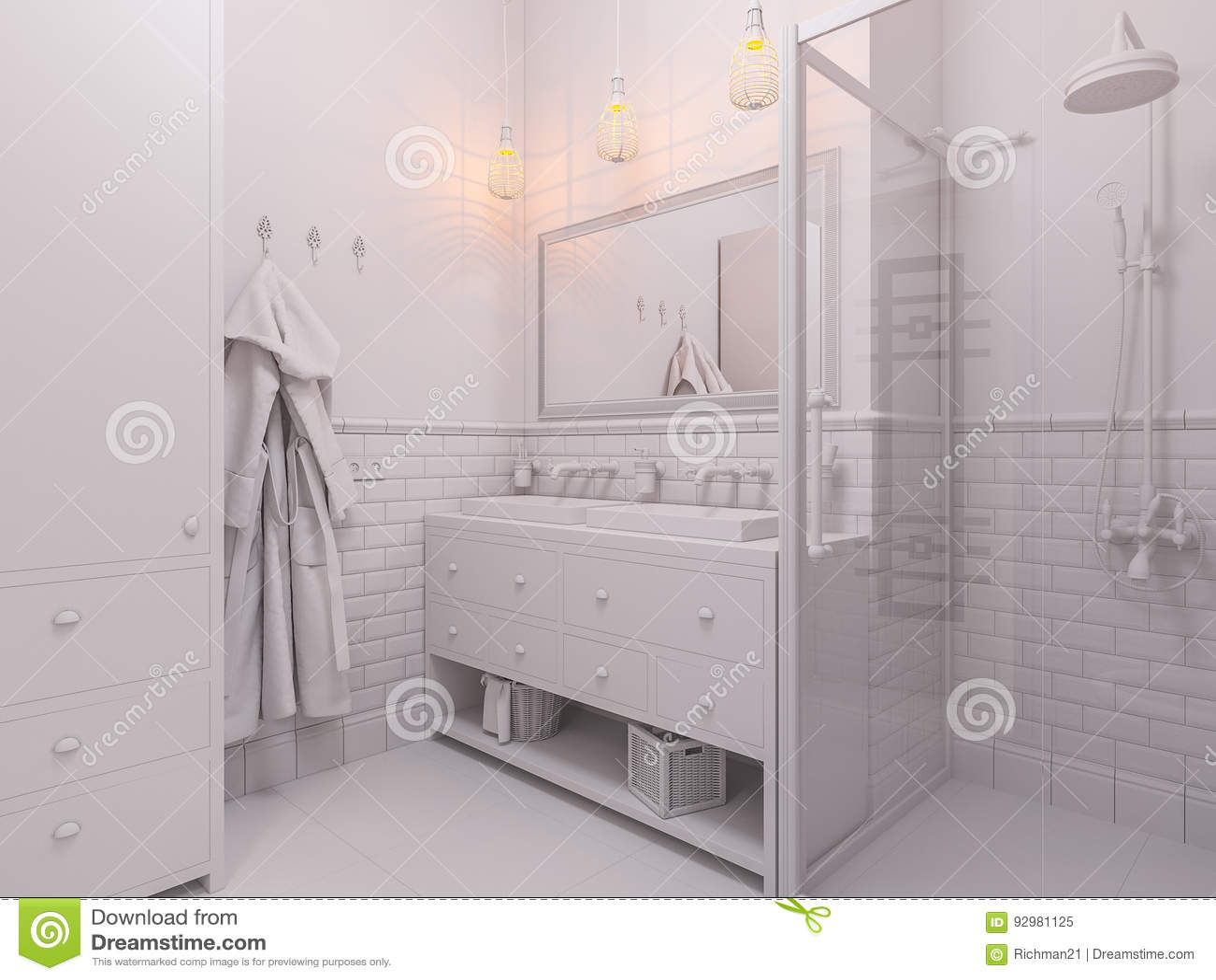 3d Illustration Of A Interior Design Bathroom Stock Illustration ...