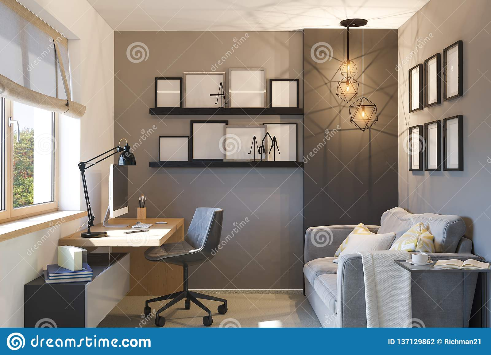 3d Illustration Of Interior Design Concept For Home Office