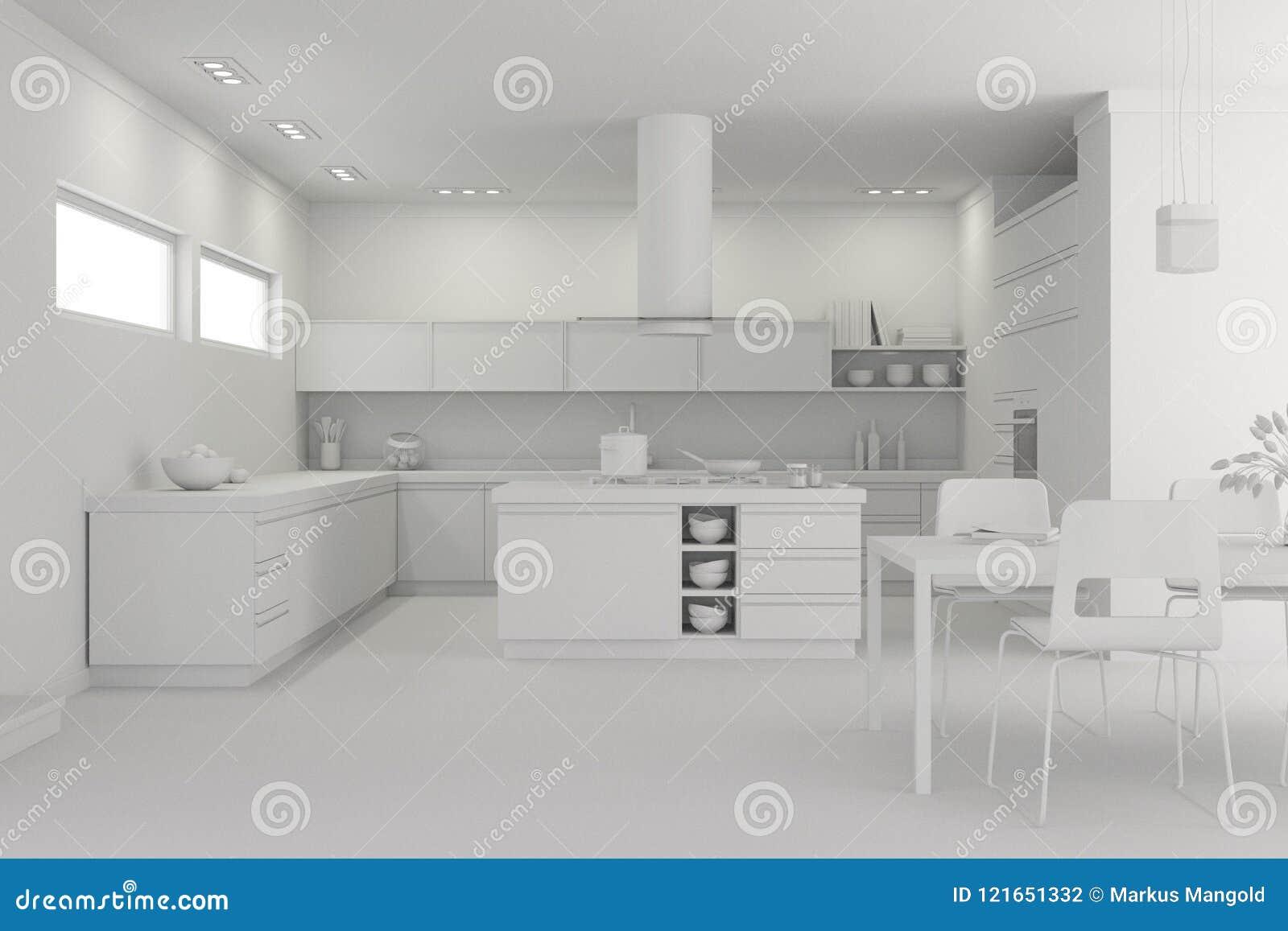 Interior Design Modern Kitchen Model Stock Illustration