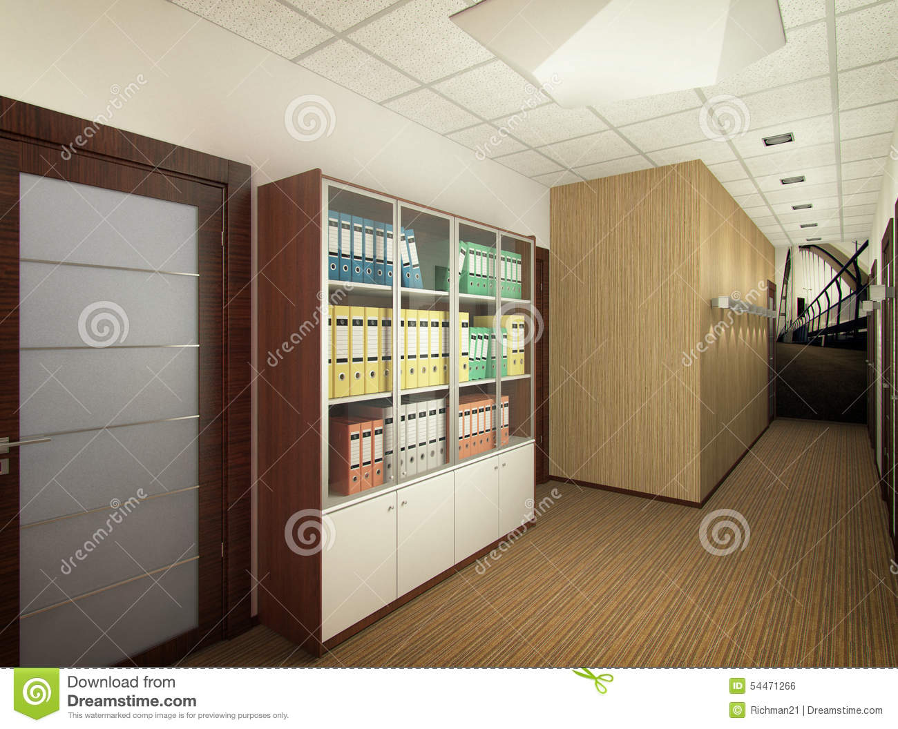 3d Illustration Of Interior Design Of Office Of Agency Of Real E