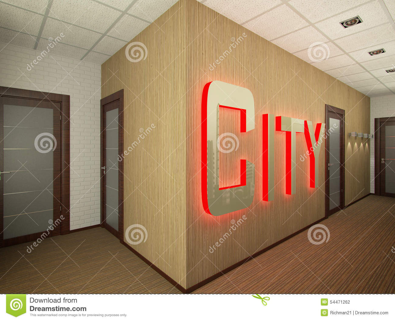 3d illustration of interior design of office stock for Real estate office interior design