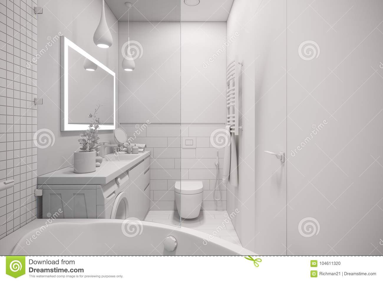 3d Illustration Of An Interior Design Of A White Minimalist Bath ...