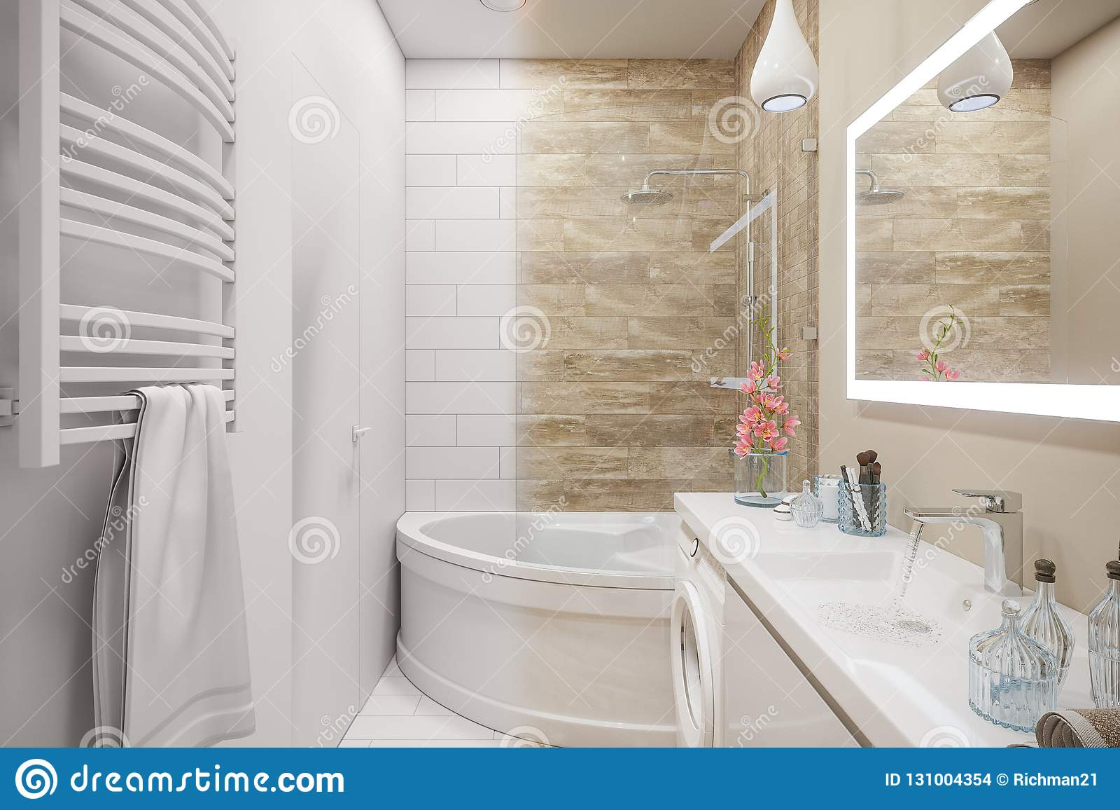 3d Illustration Of An Interior Design Of A White Minimalist Bathroom Stock Illustration Illustration Of Empty Modern 131004354