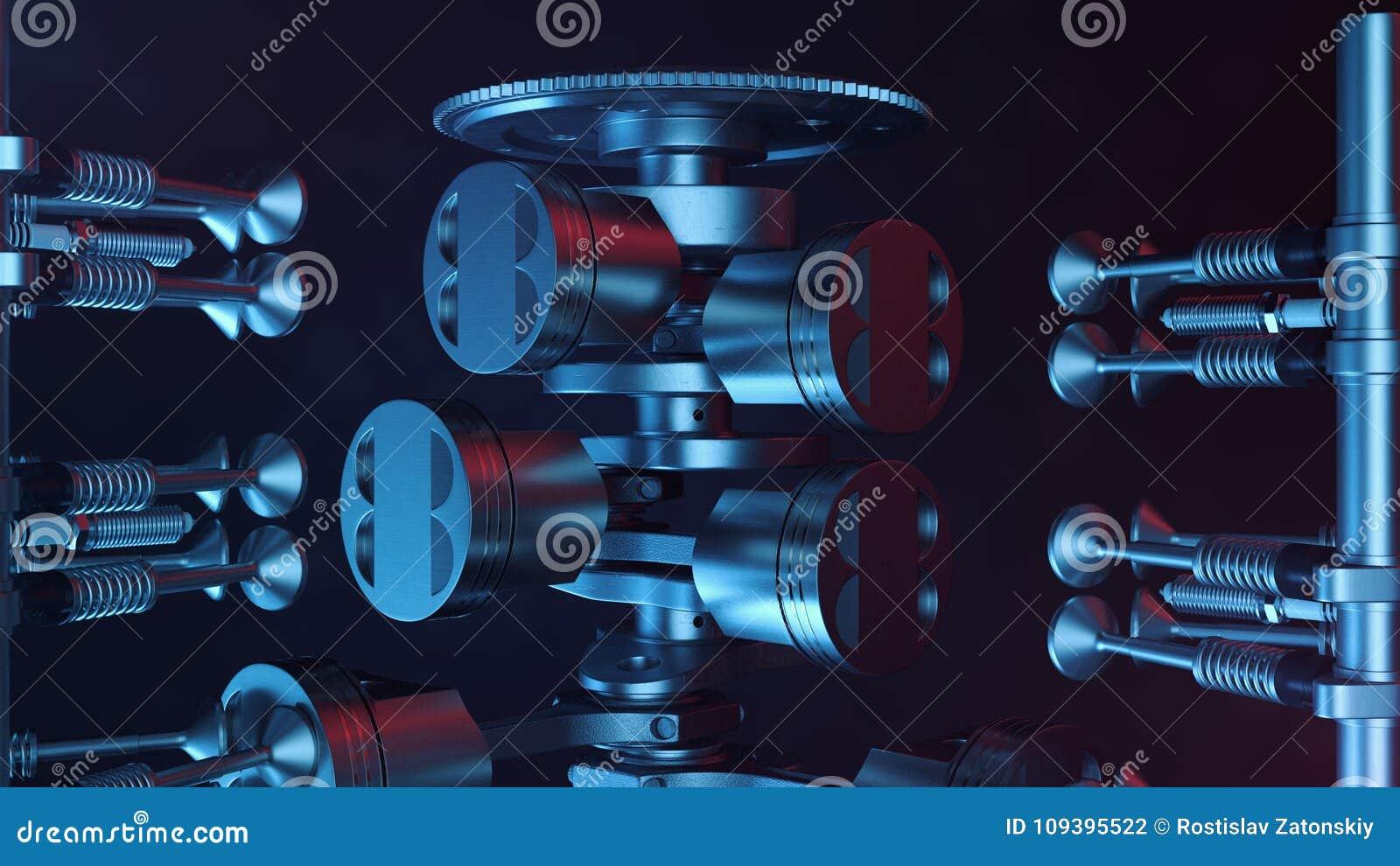 3d Illustration Of An Internal Combustion Engine. Engine Parts ...
