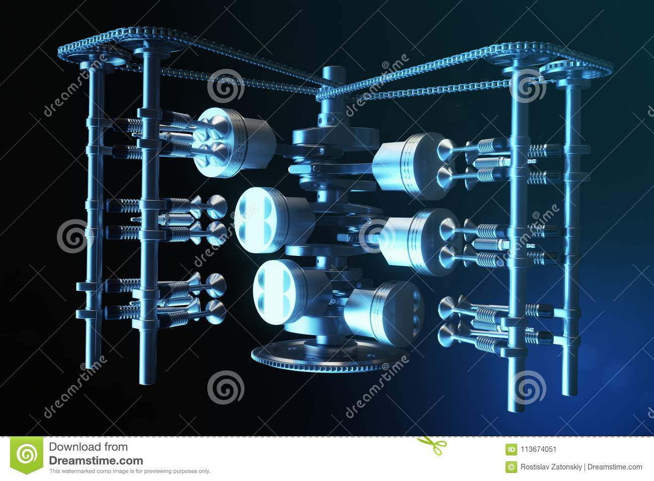 3d Illustration Of An Internal Combustion Engine Parts Piston Diagram Crankshaft Pistons Fuel Supply System V6 With In Motion