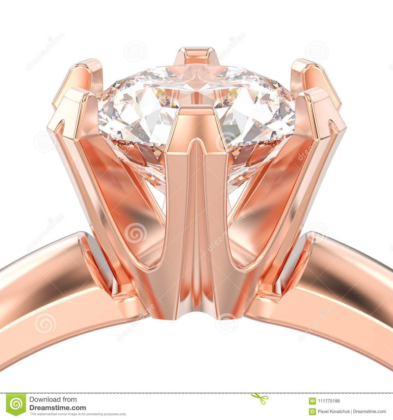 3D illustration isolated close up rose gold solitaire engagement