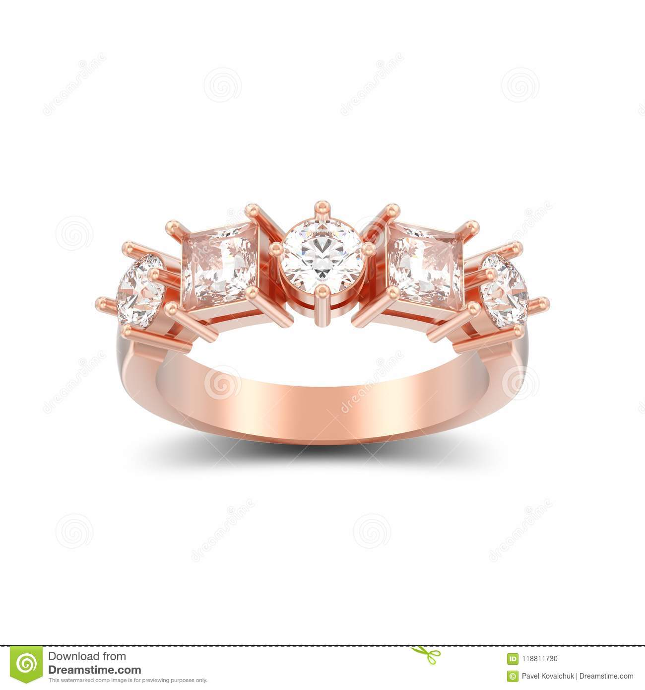 087c10c75d 3D Illustration Isolated Rose Gold Decorative Ring With Differen ...