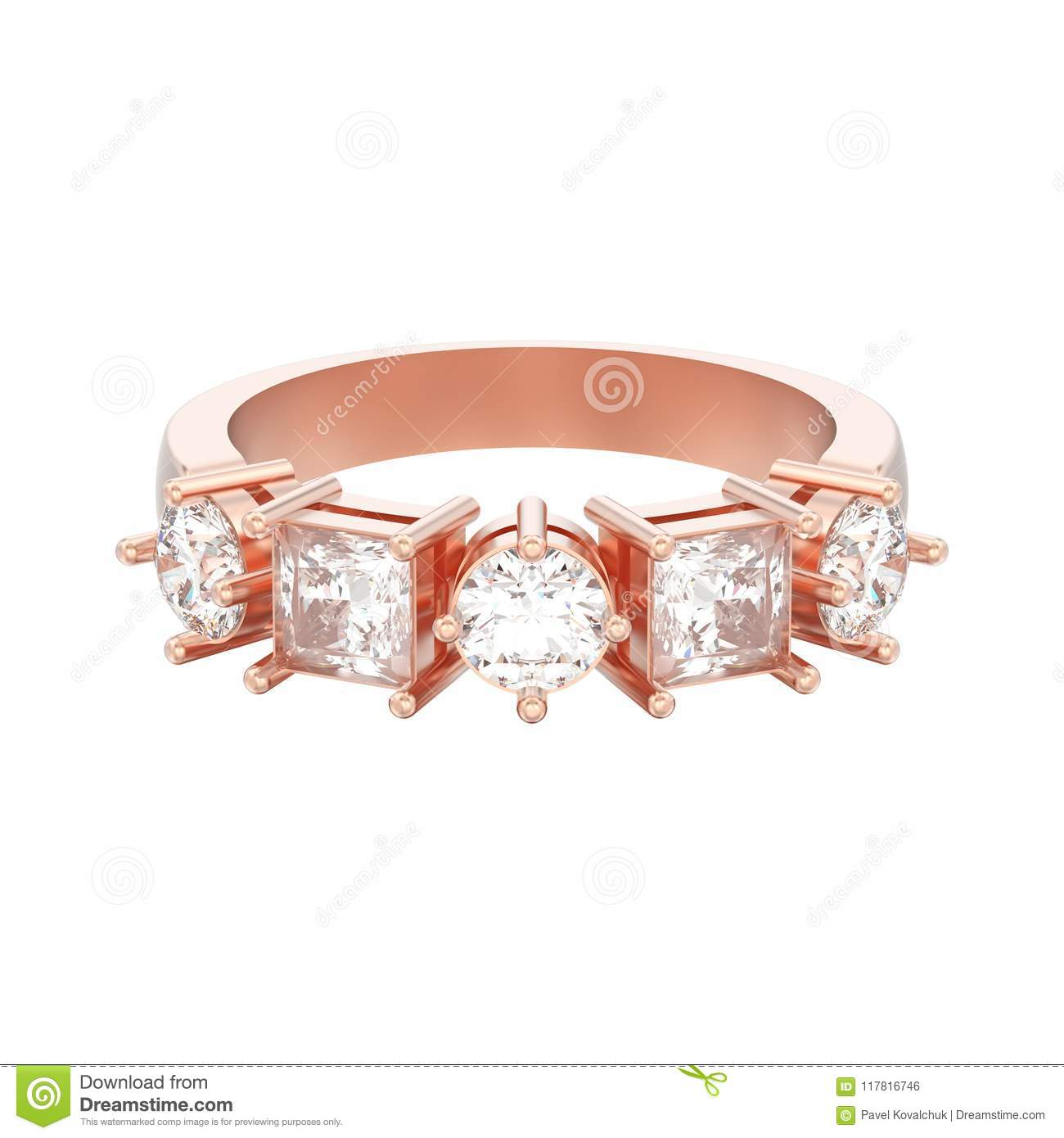 3e04d9daa5 3D illustration isolated rose gold decorative ring with different round and  square diamond