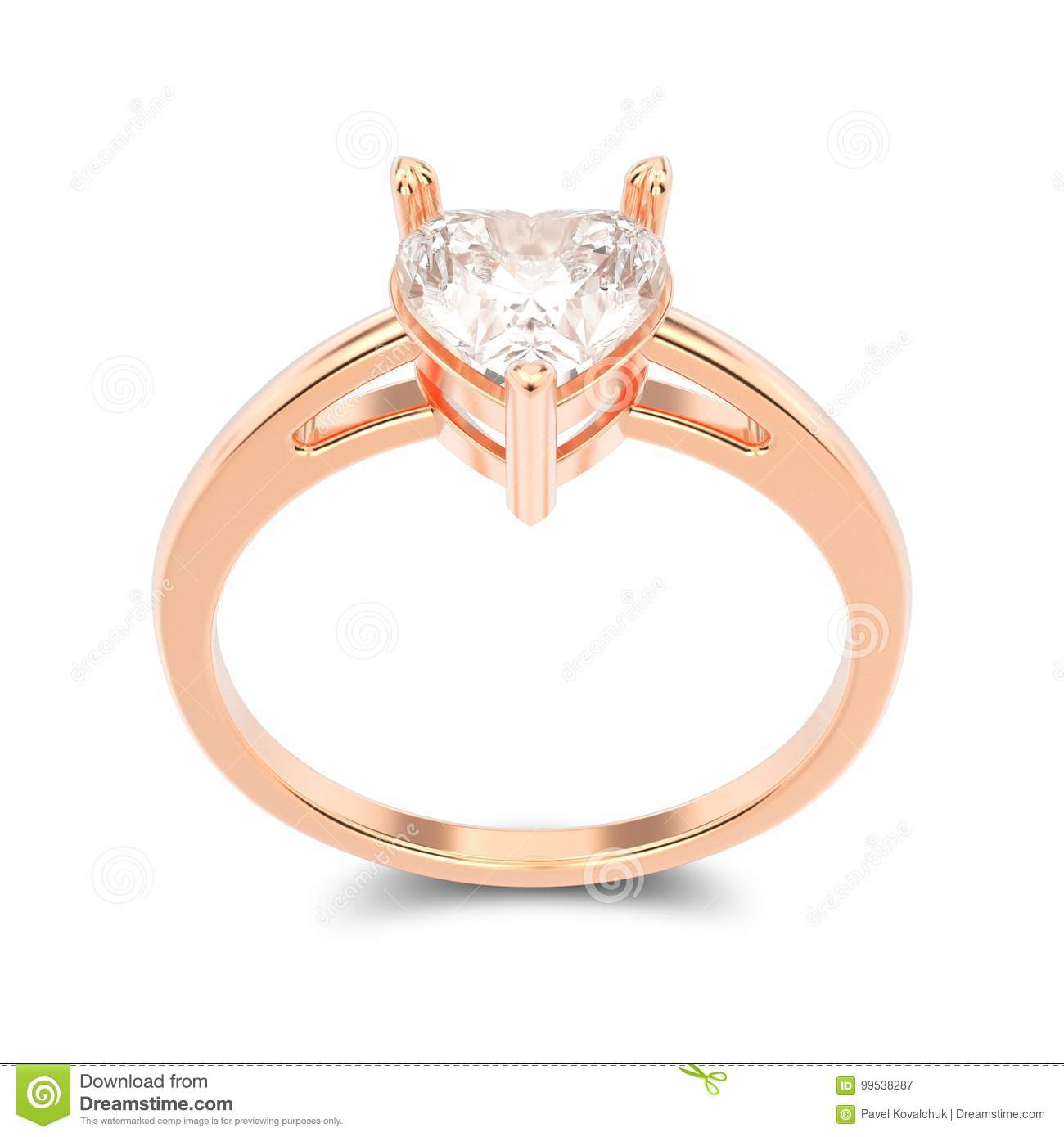 3D illustration isolated rose gold engagement ring with diamond
