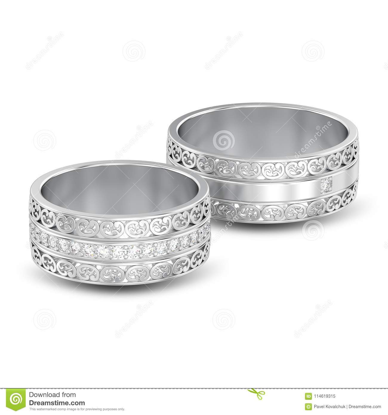 3d Illustration Isolated Two Silver Decorative Wedding Bands Car