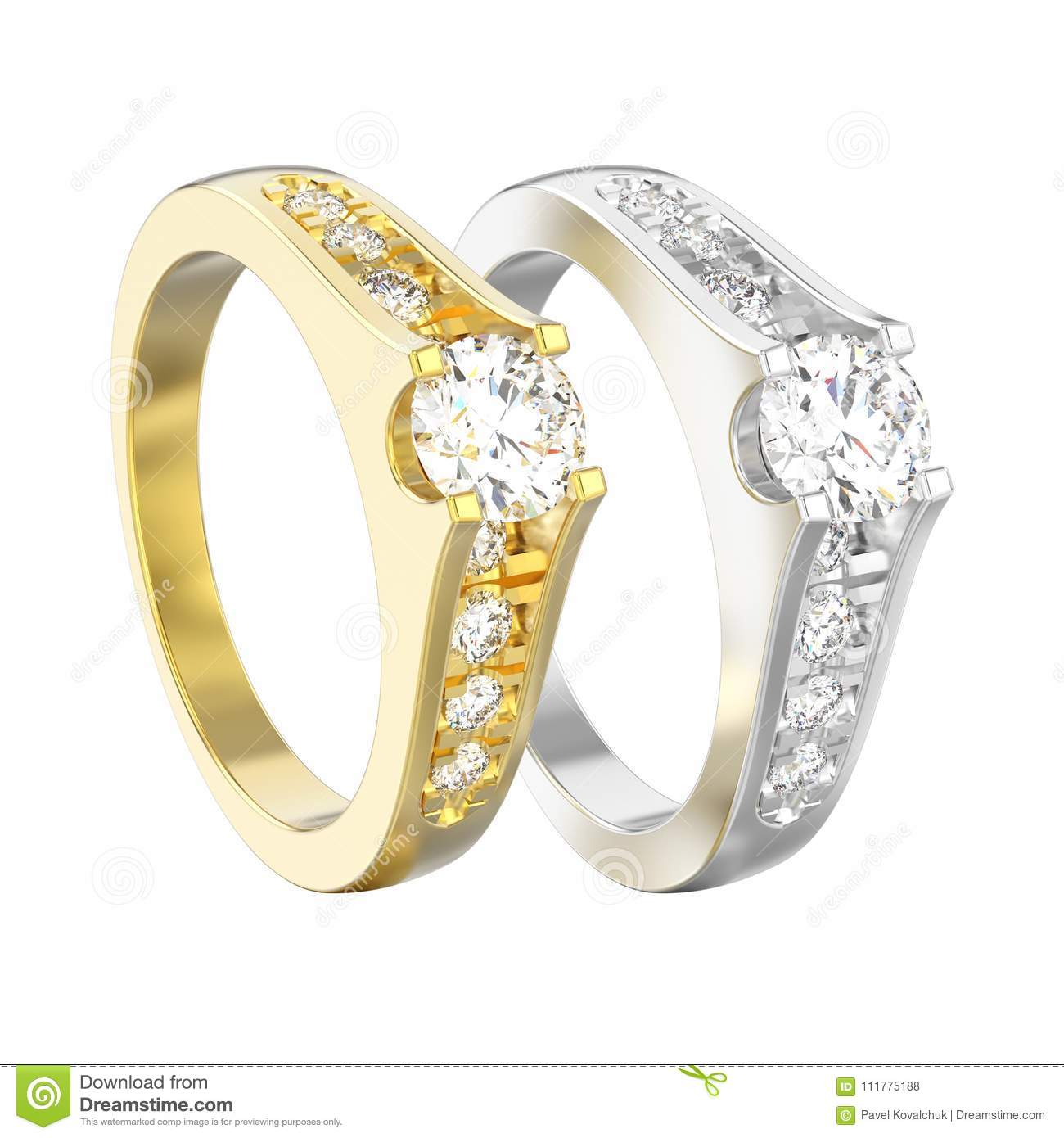 3D illustration isolated two yellow and white gold or silver dec