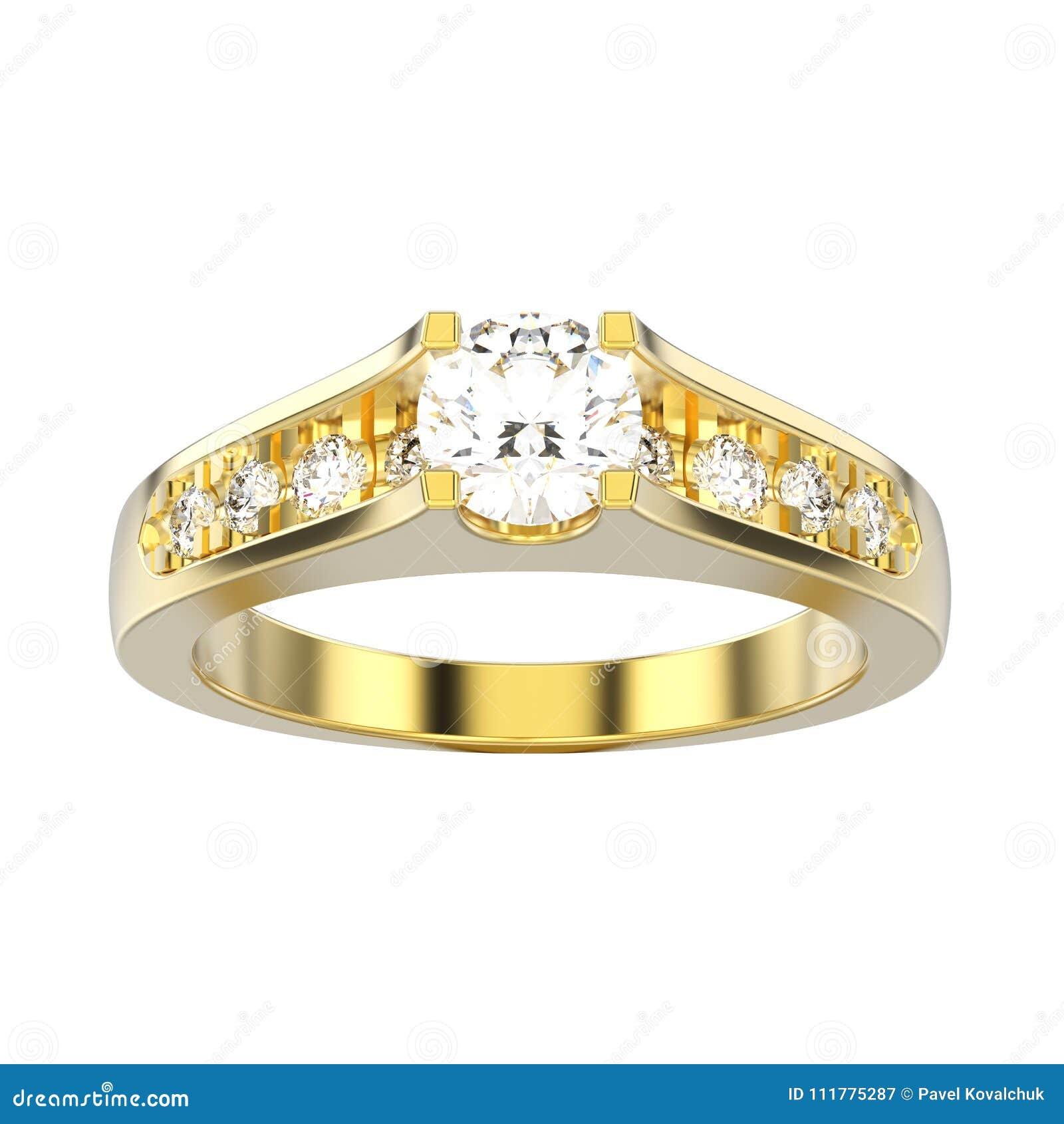 3D illustration isolated yellow gold decorative engagement wedding diamond ring