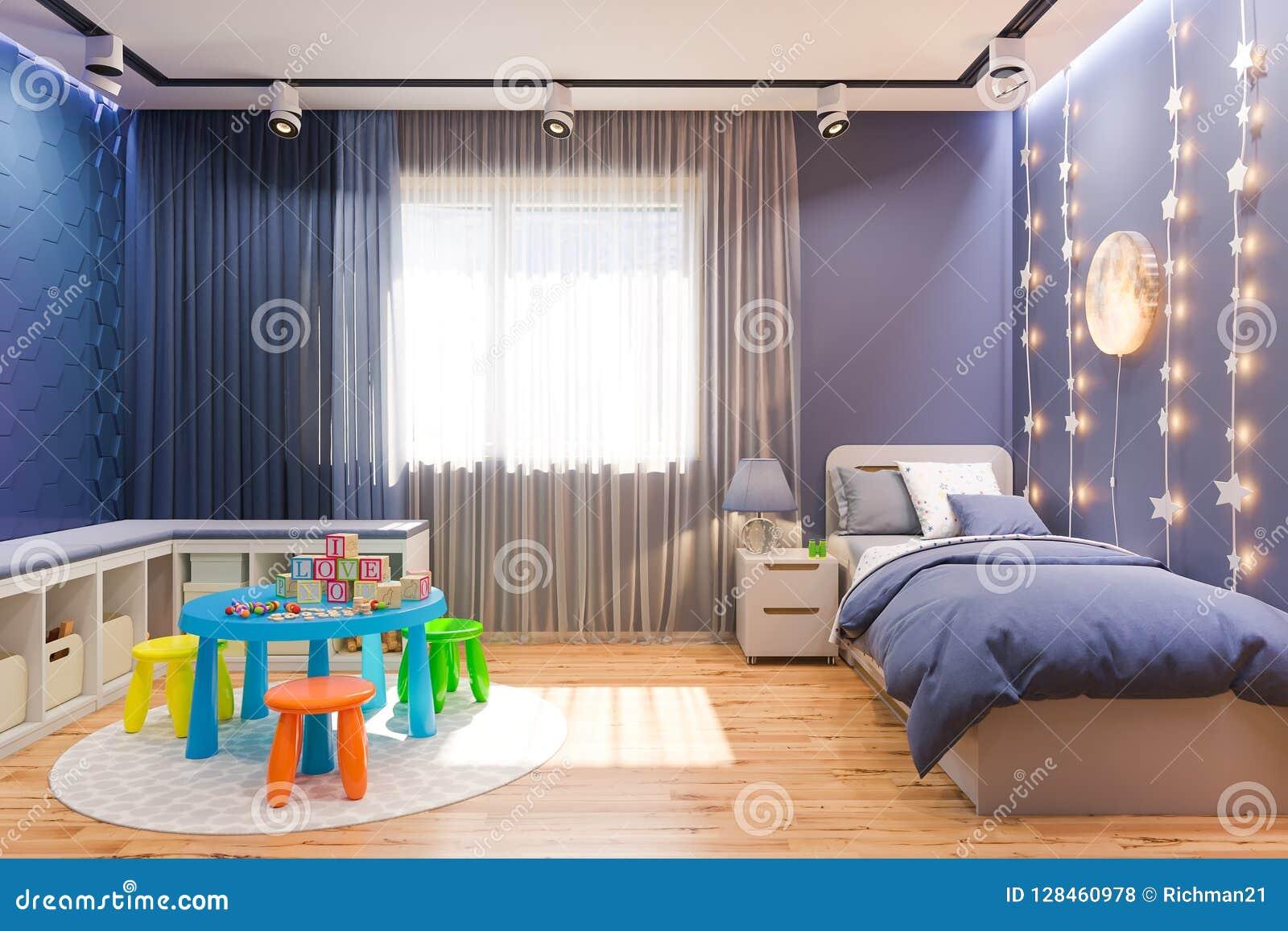 3d Render Of The Children S Bedroom Interior In Deep Blue Color