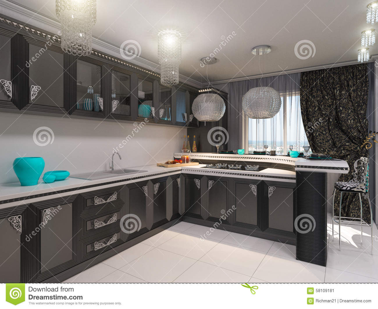 Art Deco Stijl : D illustration of kitchen in style of an art deco stock