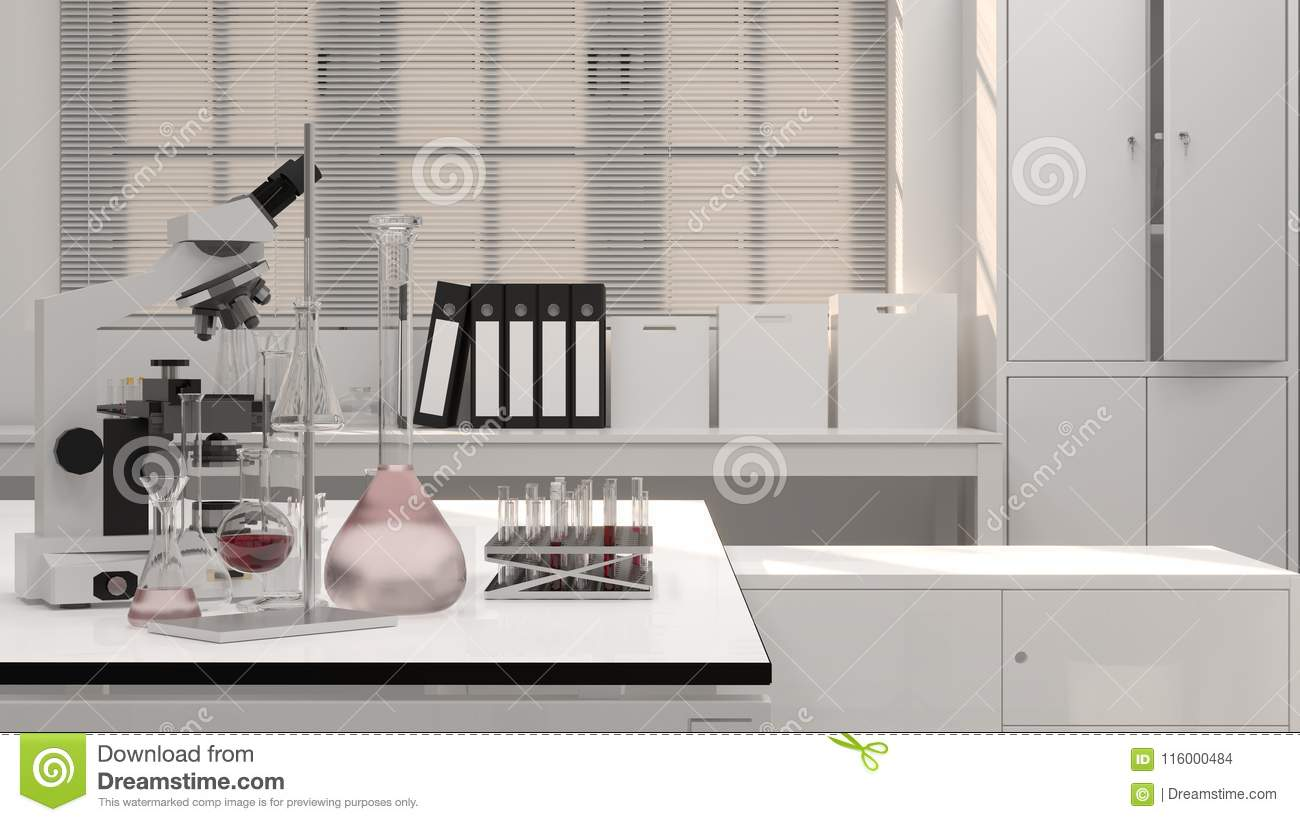 3D Illustration Laboratory Science Research And Development Clean ...