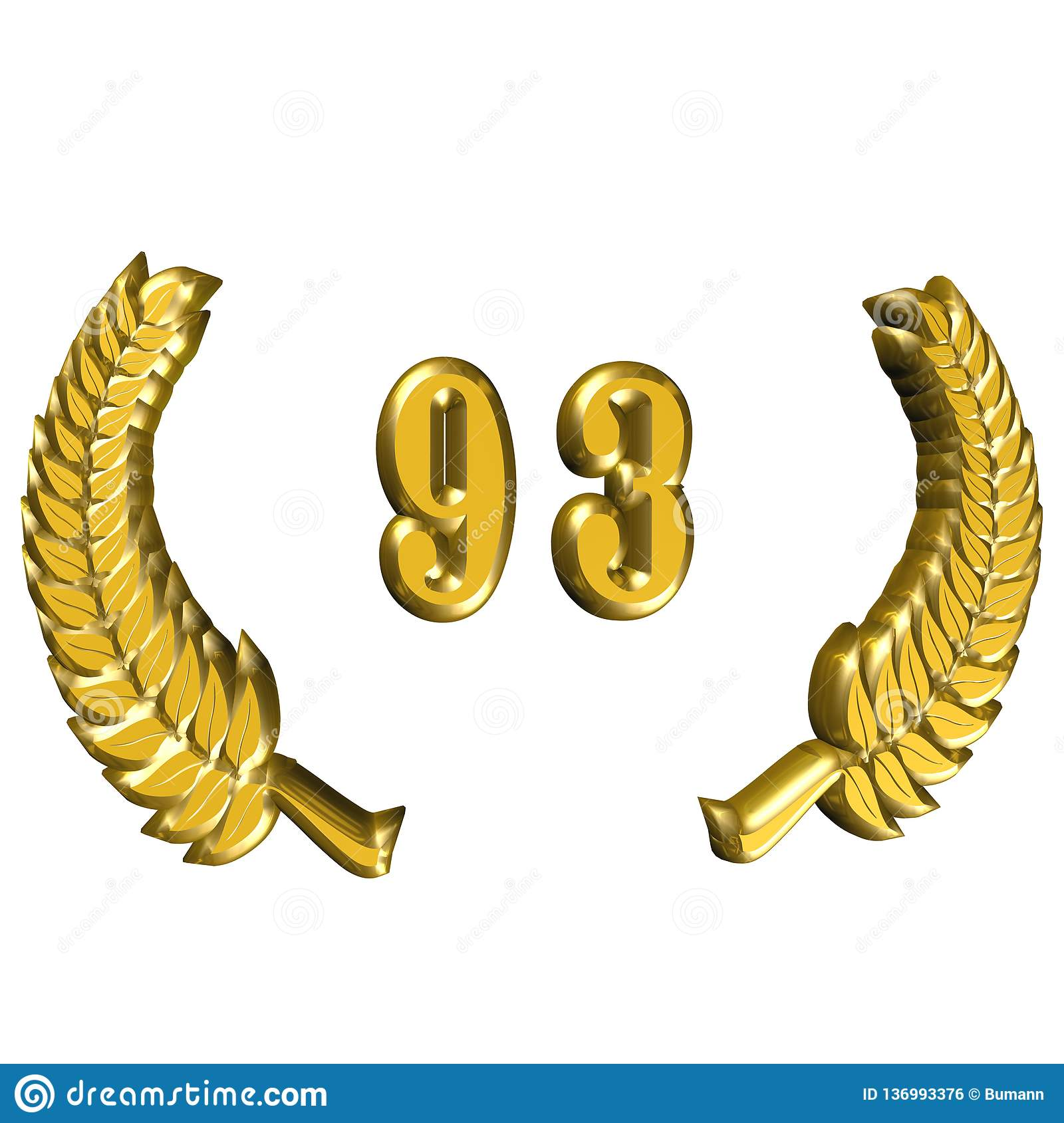 3D Illustration: A laurel wreath for the anniversary with number royalty free stock image