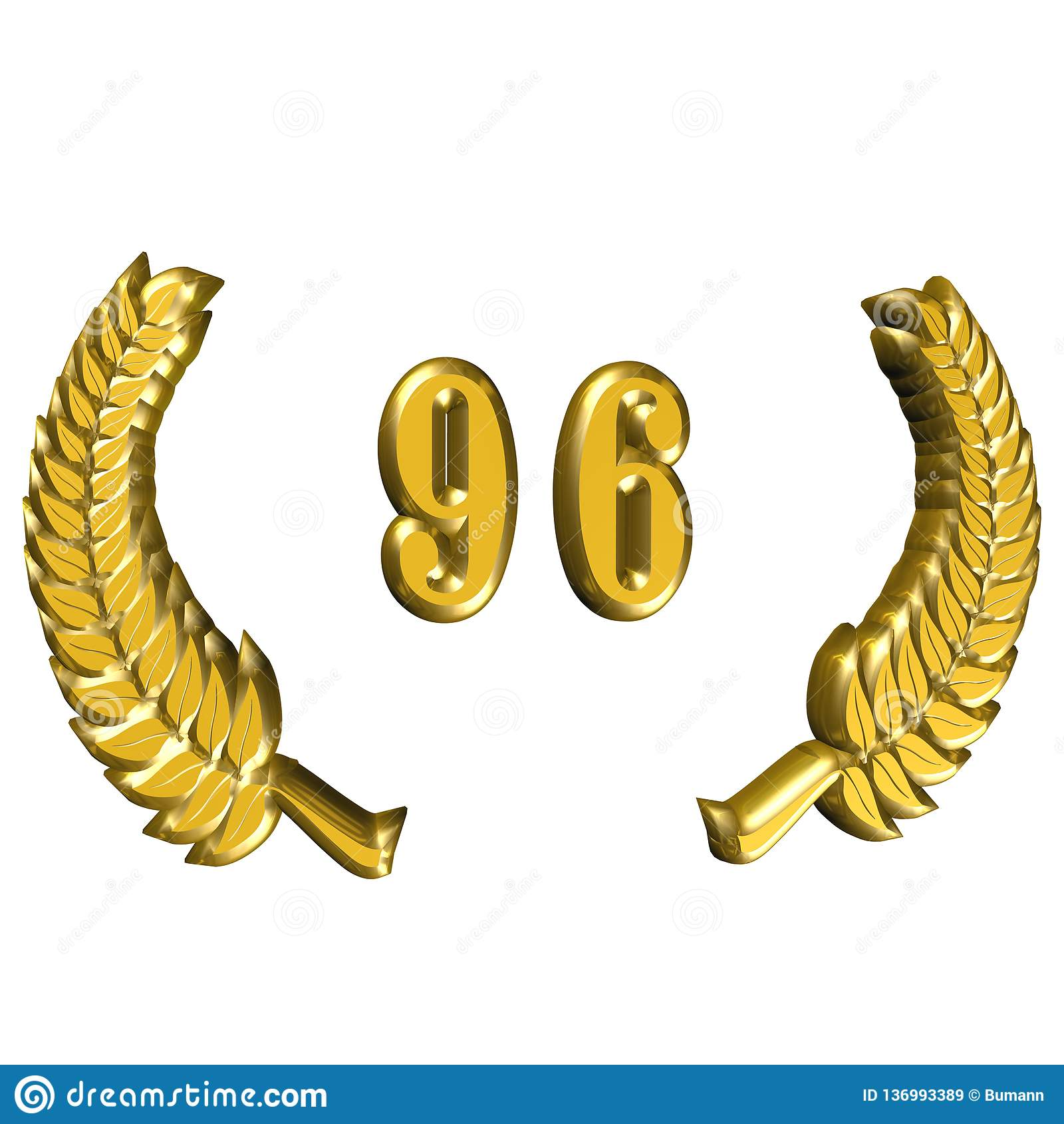 3D Illustration: A laurel wreath for the anniversary with number royalty free stock images