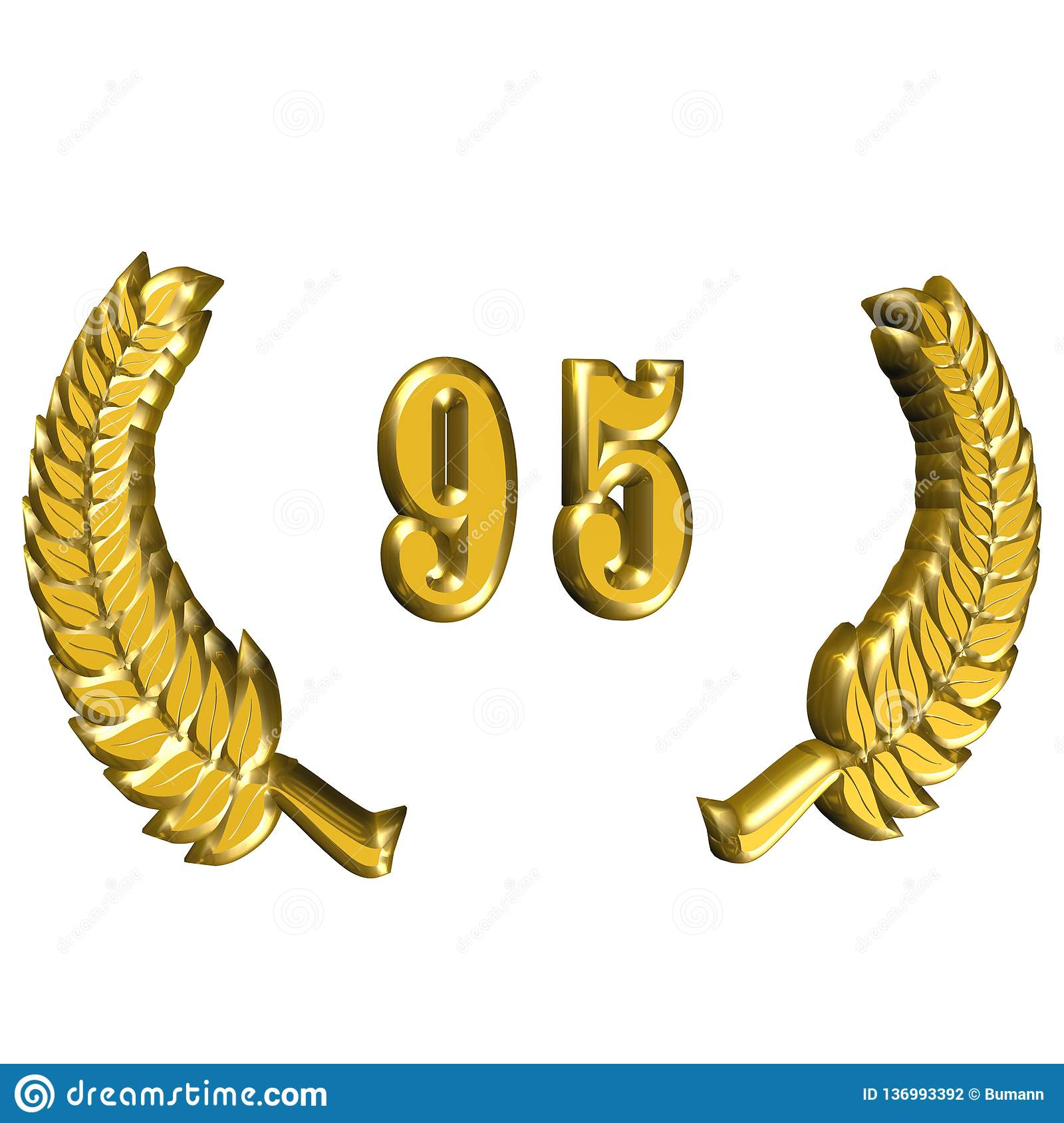 3D Illustration: A laurel wreath for the anniversary with number stock photography
