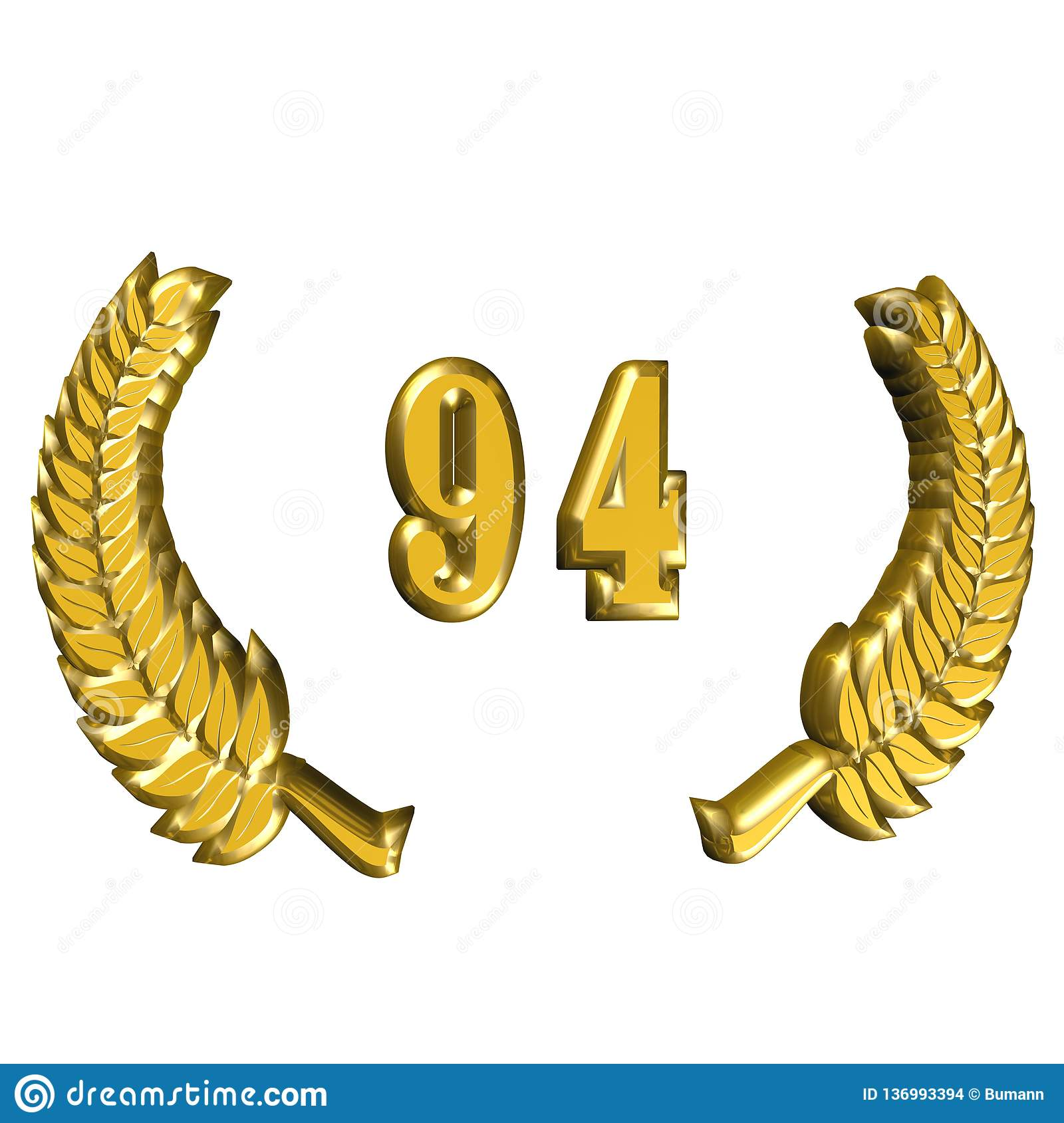 3D Illustration: A laurel wreath for the anniversary with number stock images