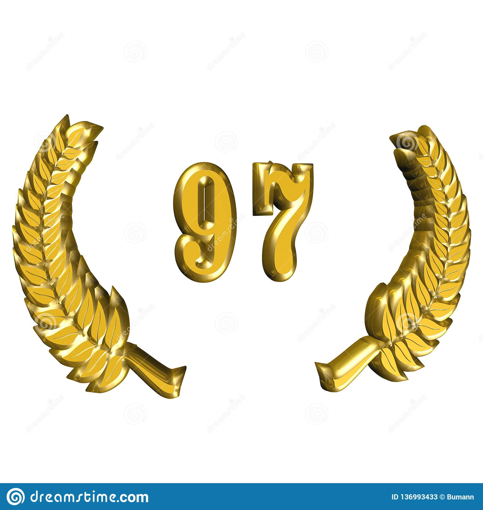 3D Illustration: A laurel wreath for the anniversary with number stock photos