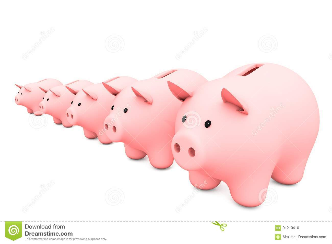 Line Drawing Piggy Bank : D illustration line of pink piggy bank on a white