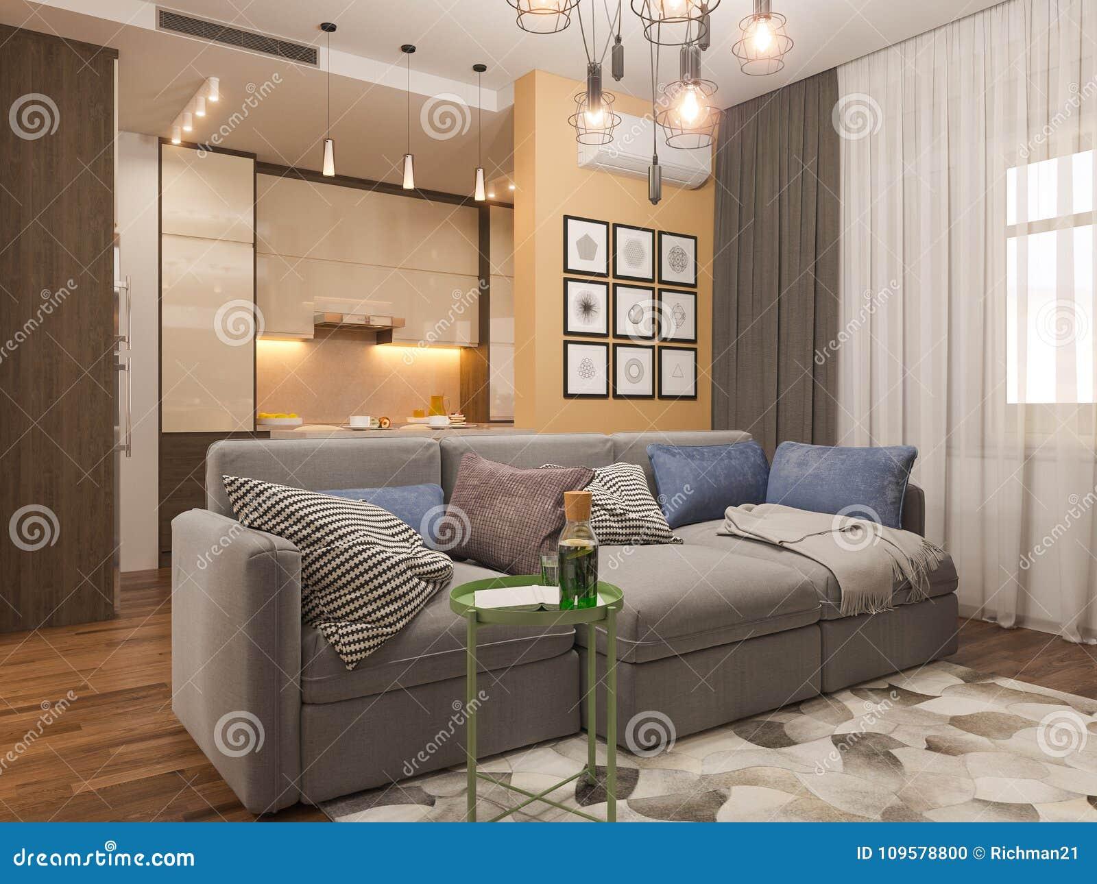 3d Illustration Living Room Interior Design Modern Studio Apartment