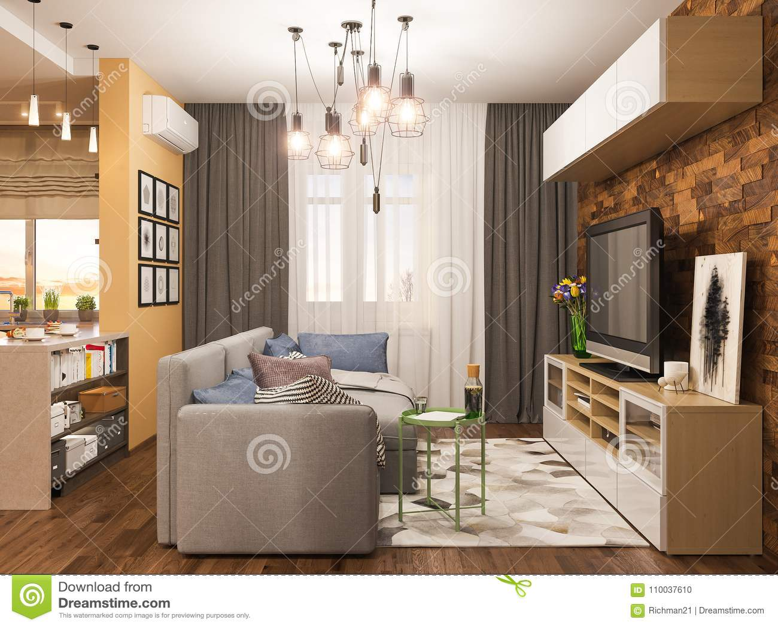 3d Illustration Living Room Interior Design. Modern Studio Apartment ...
