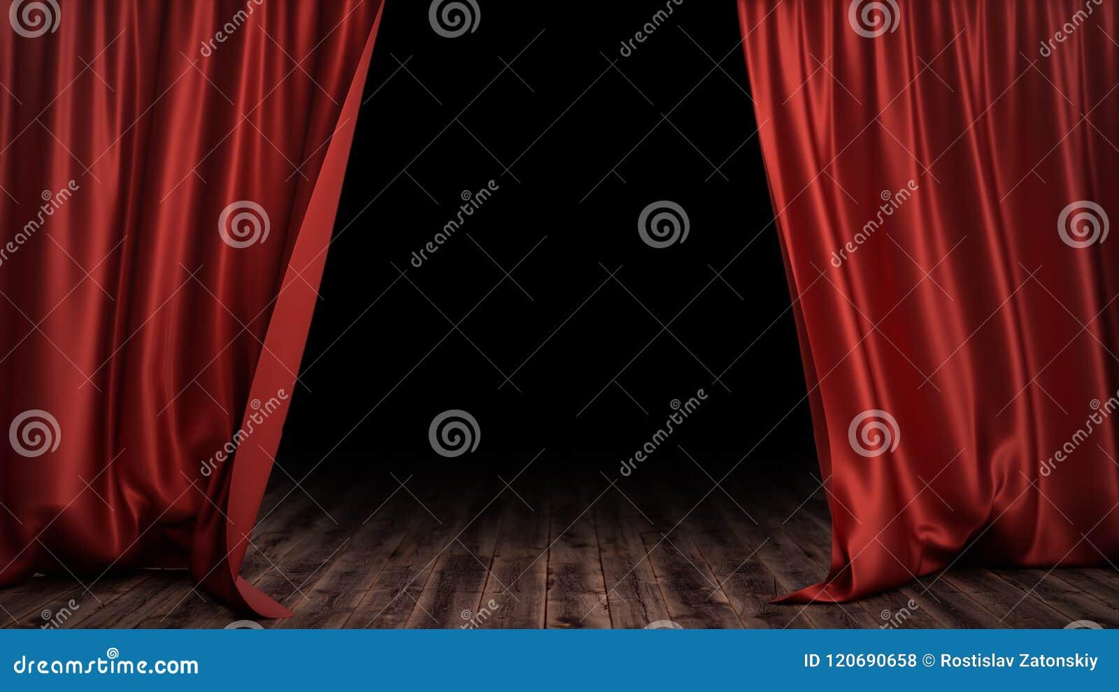 3d Illustration Luxury Red Silk Velvet Curtains Decoration Design