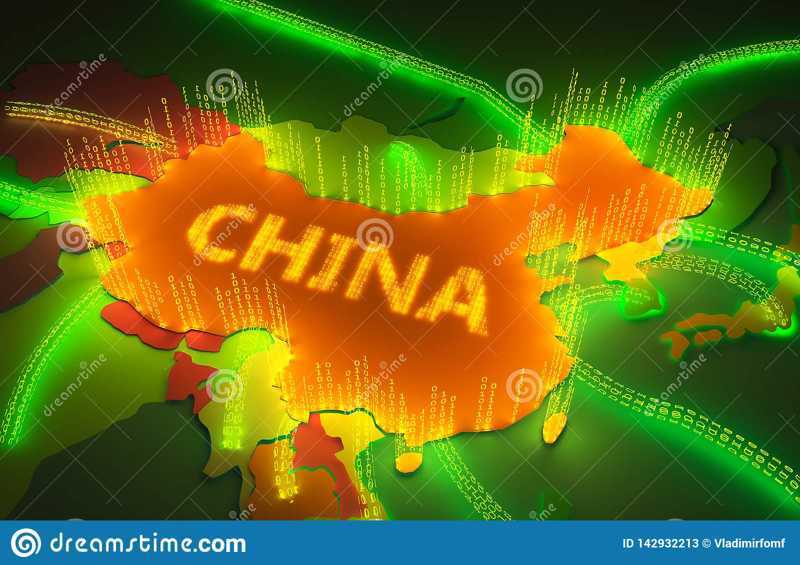 Map of China surronded by a binary firewall