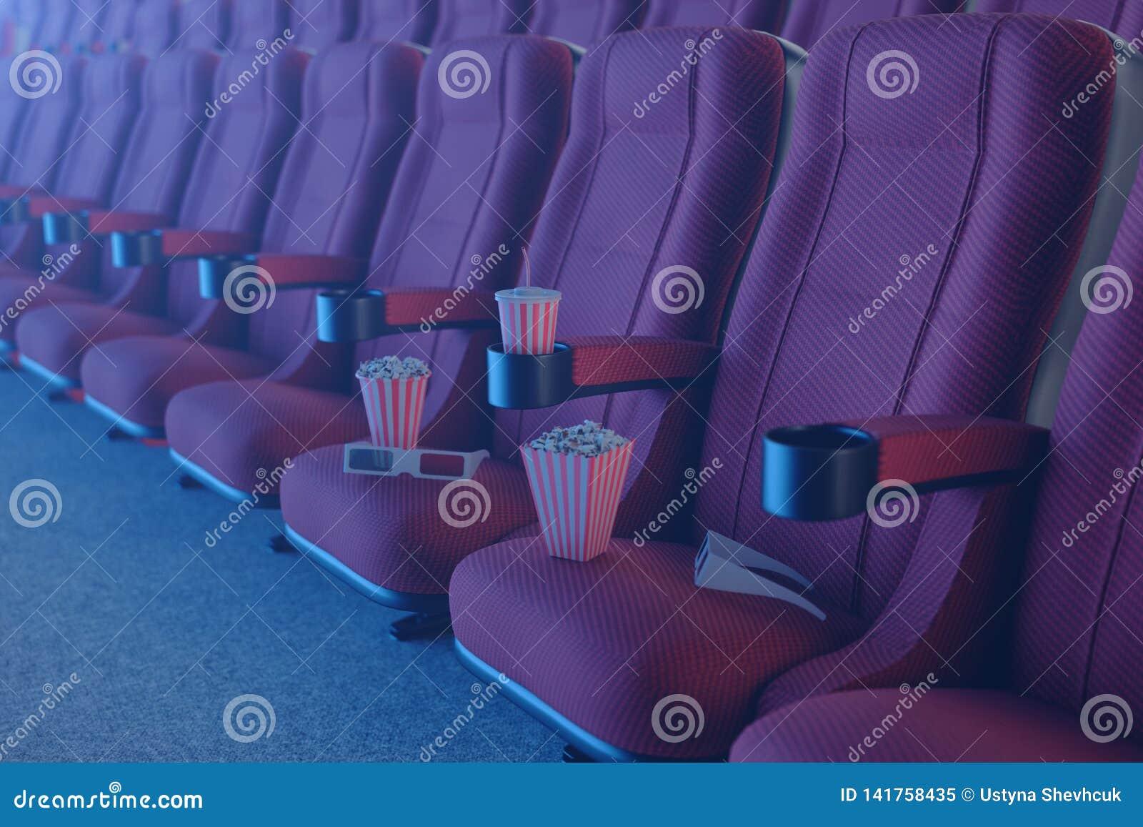 3D illustration med exponeringsglas 3d, popcorn, kopp med en drink Biobegrepp med blått ljus Röda stolar i bion