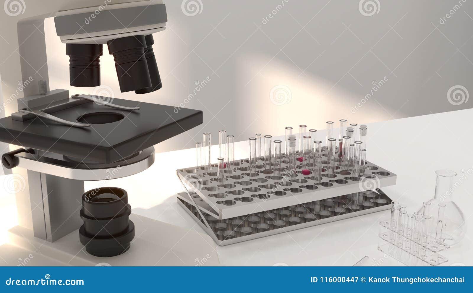 3D Illustration Microscope In Laboratory Development Research Clean ...