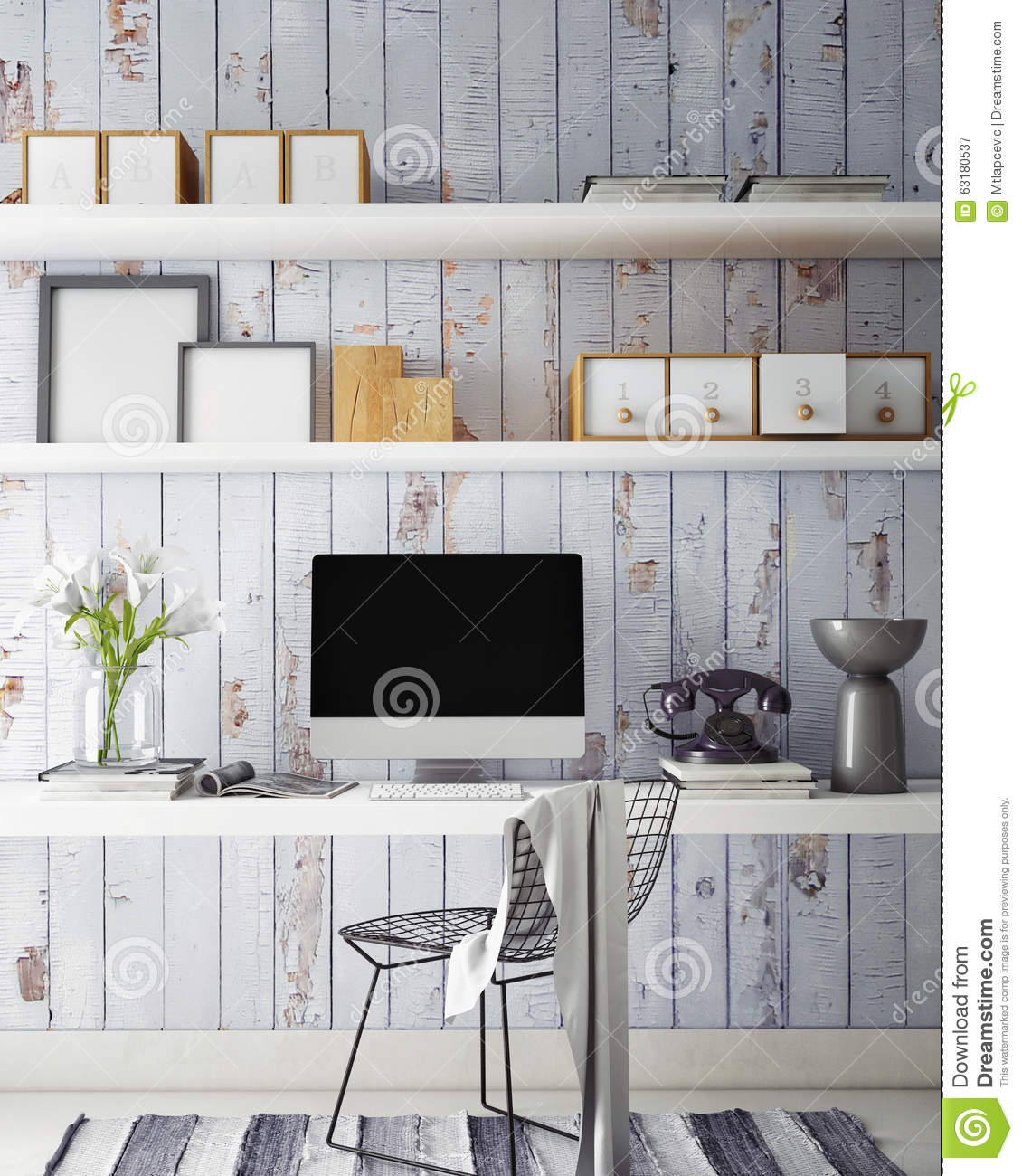 3d illustration of modern computer template workspace mock up stock photo image 63180537. Black Bedroom Furniture Sets. Home Design Ideas