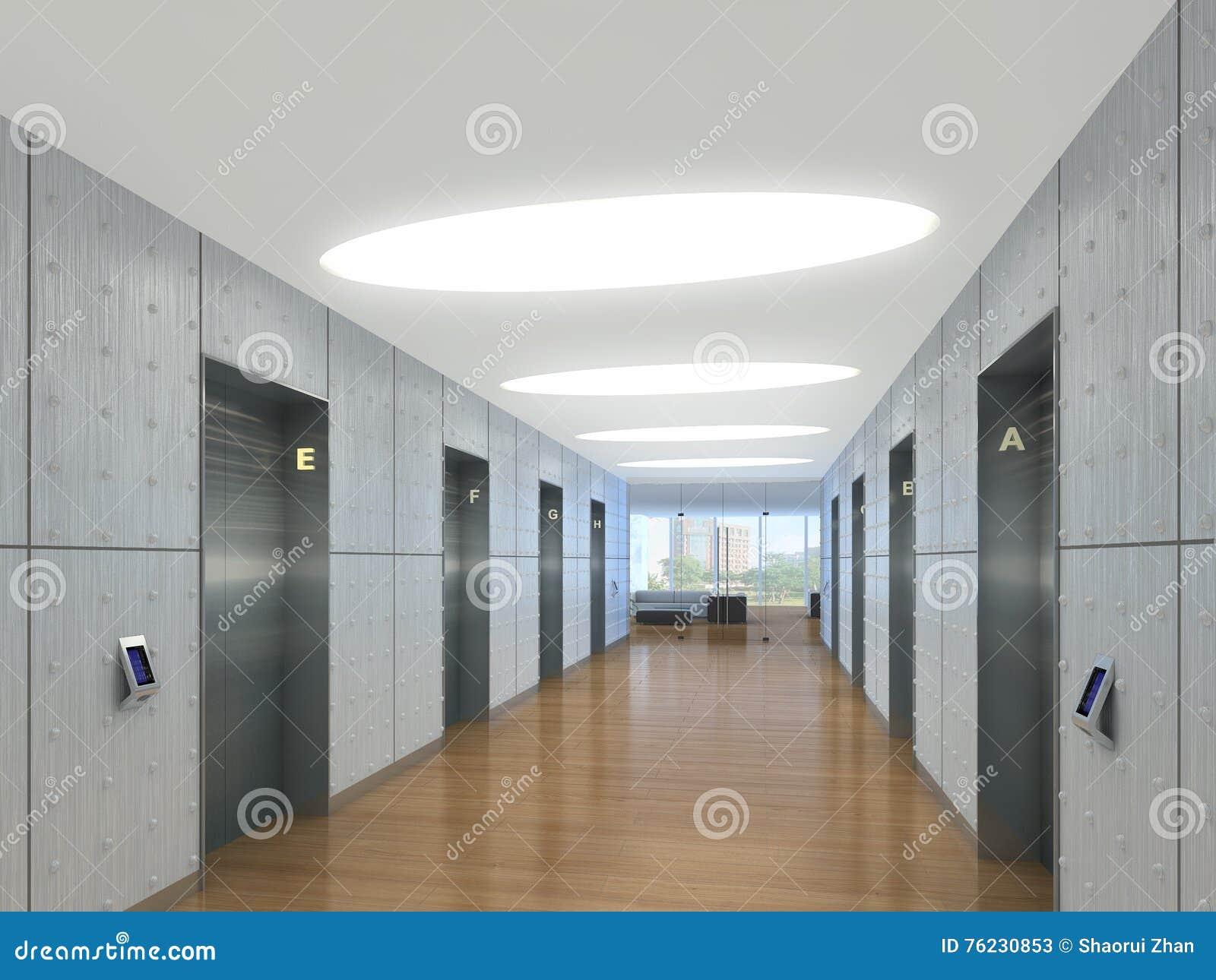 3d illustration of modern elevator lobby stock for Modern elevator design