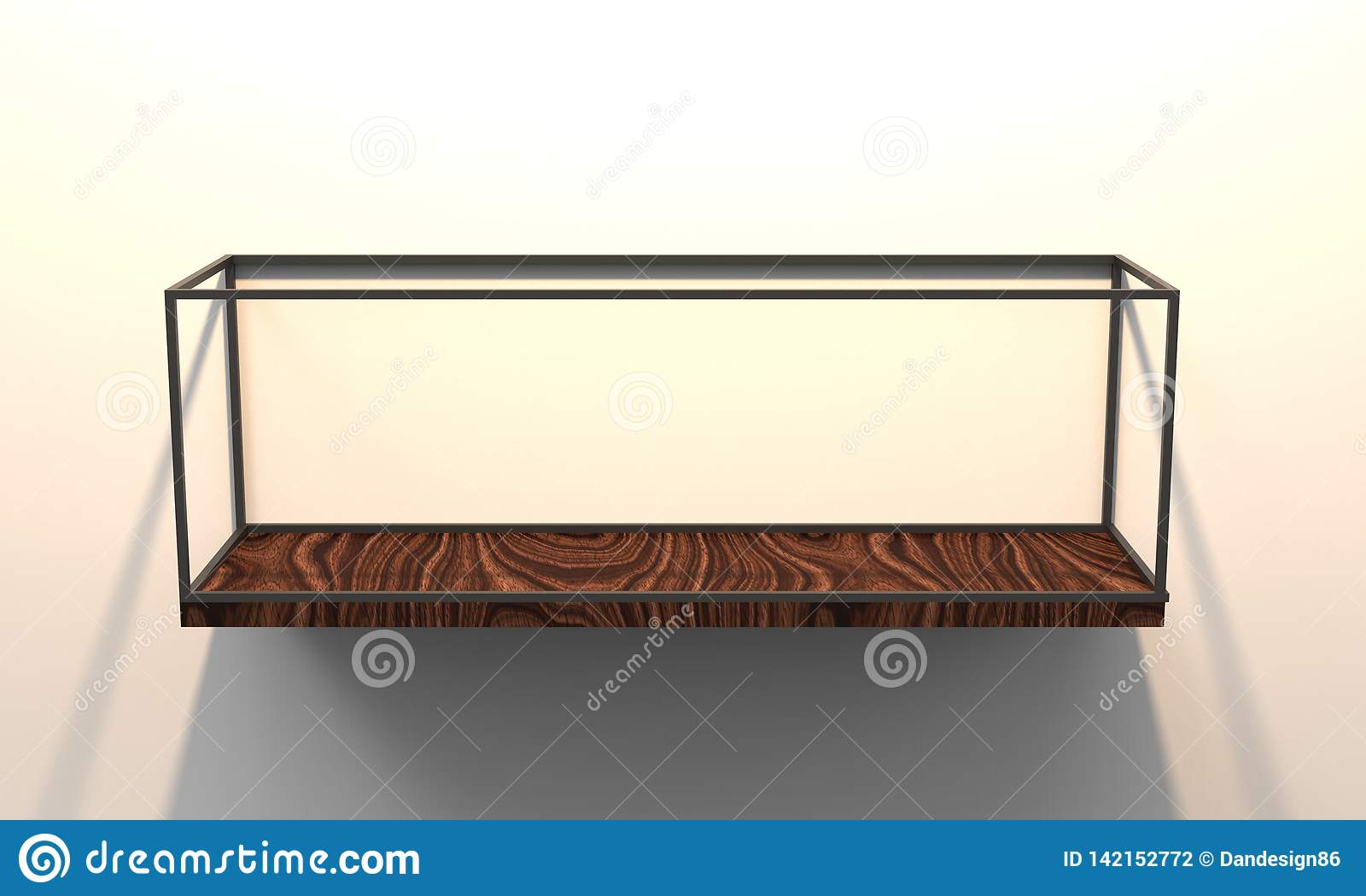 3d Illustration Of A Modern Floating Shelf Stock