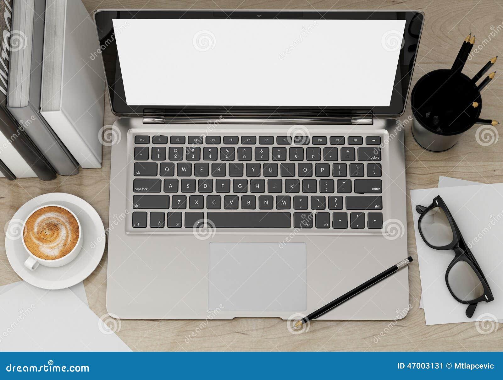 3d illustration of modern laptop template workspace mock up