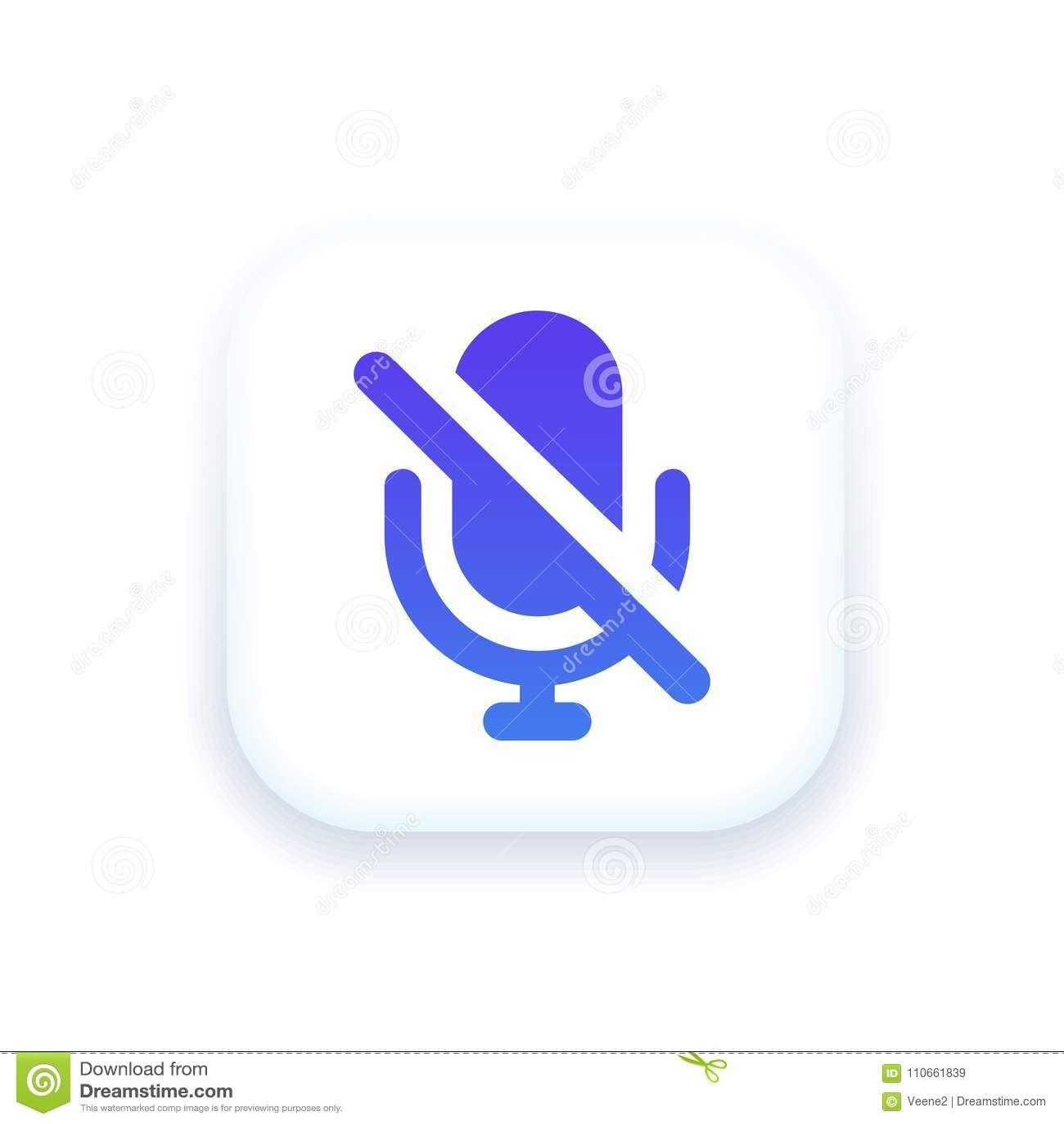 Mute Mic Icon stock illustration. Illustration of vector - 110661839