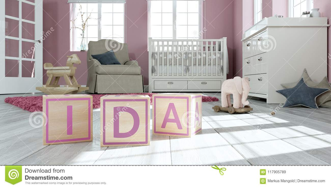The Name Ida Written With Wooden Toy Cubes In Children`s ...