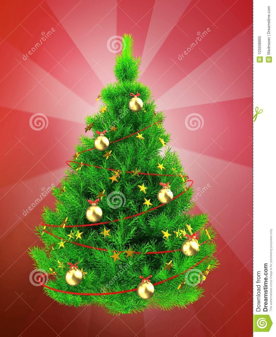 3d Neon Green Christmas Tree Over Red Stock Illustration ...