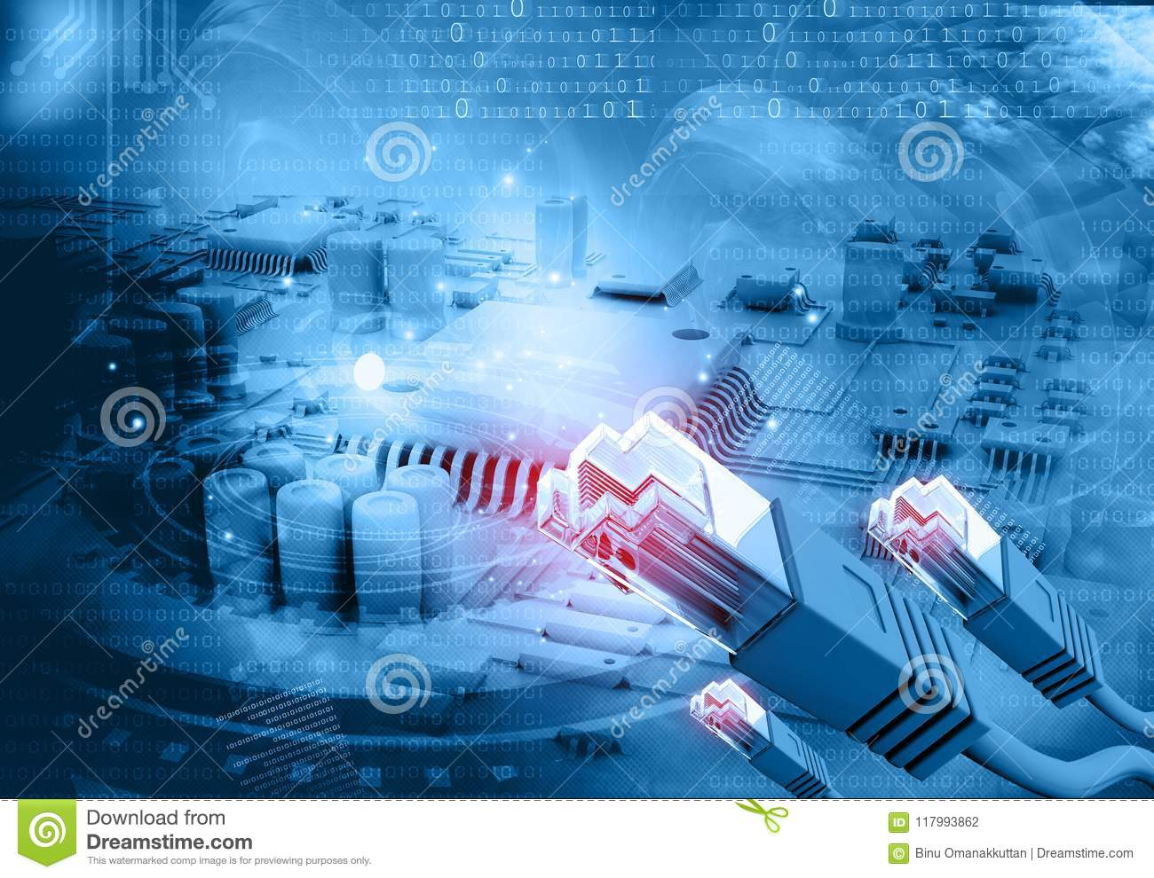 Network Cable On Circuit Board Stock Photo Image Of Future Line Diagram