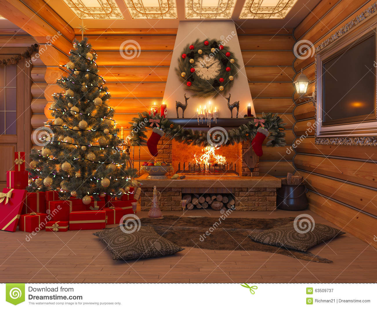 3d illustration new year interior with christmas tree presents